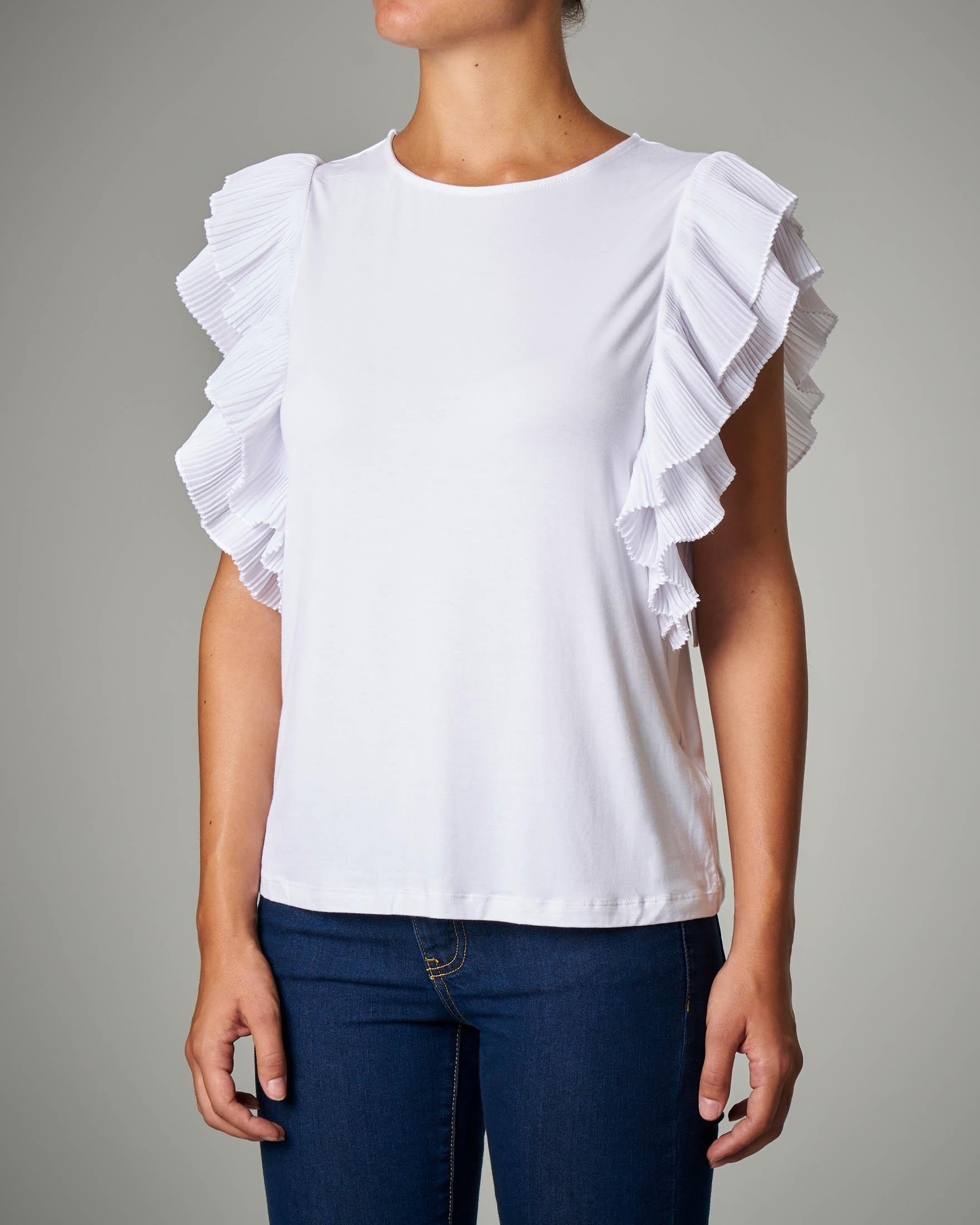 T-shirt in viscosa bianca con maniche ad aletta