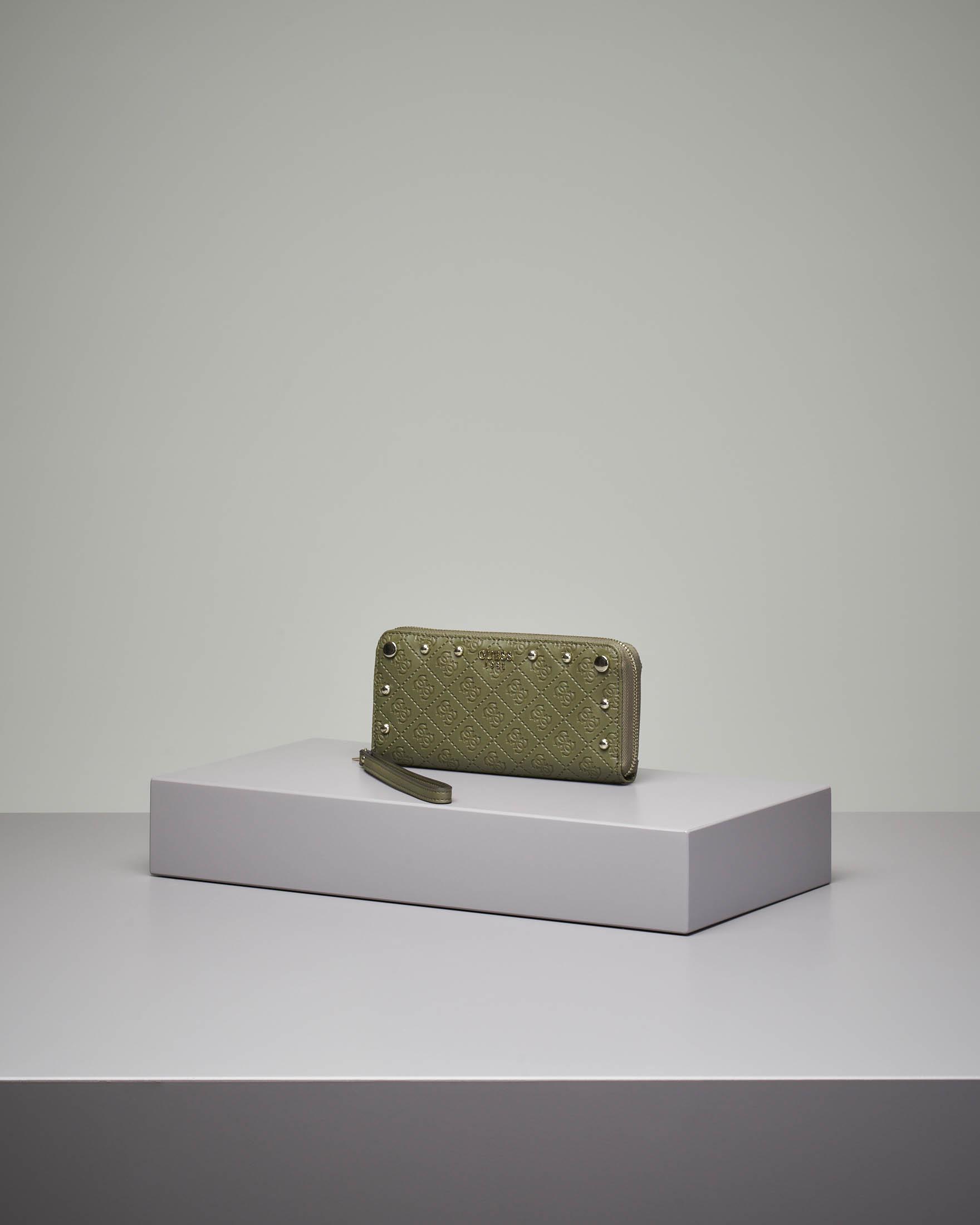 Portafoglio verde grande con chiusura a cerniera fantasia a logo