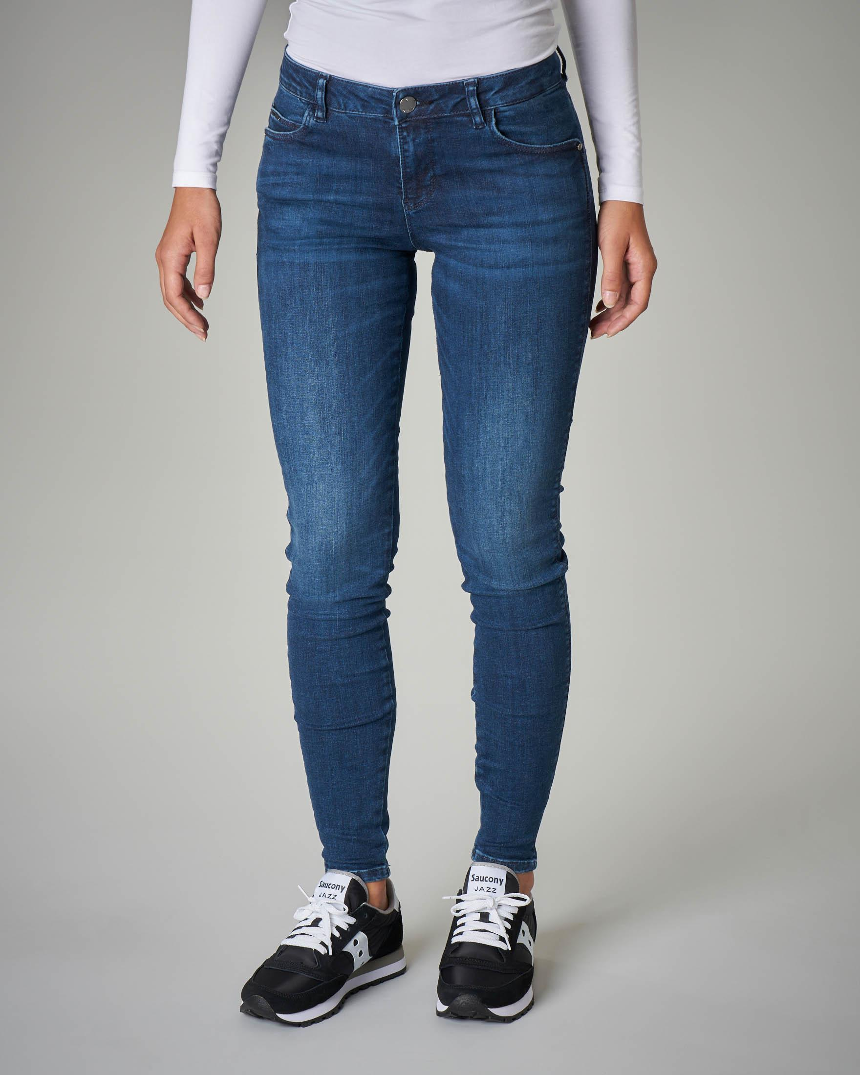 Jeans skinny stretch vita bassa blu