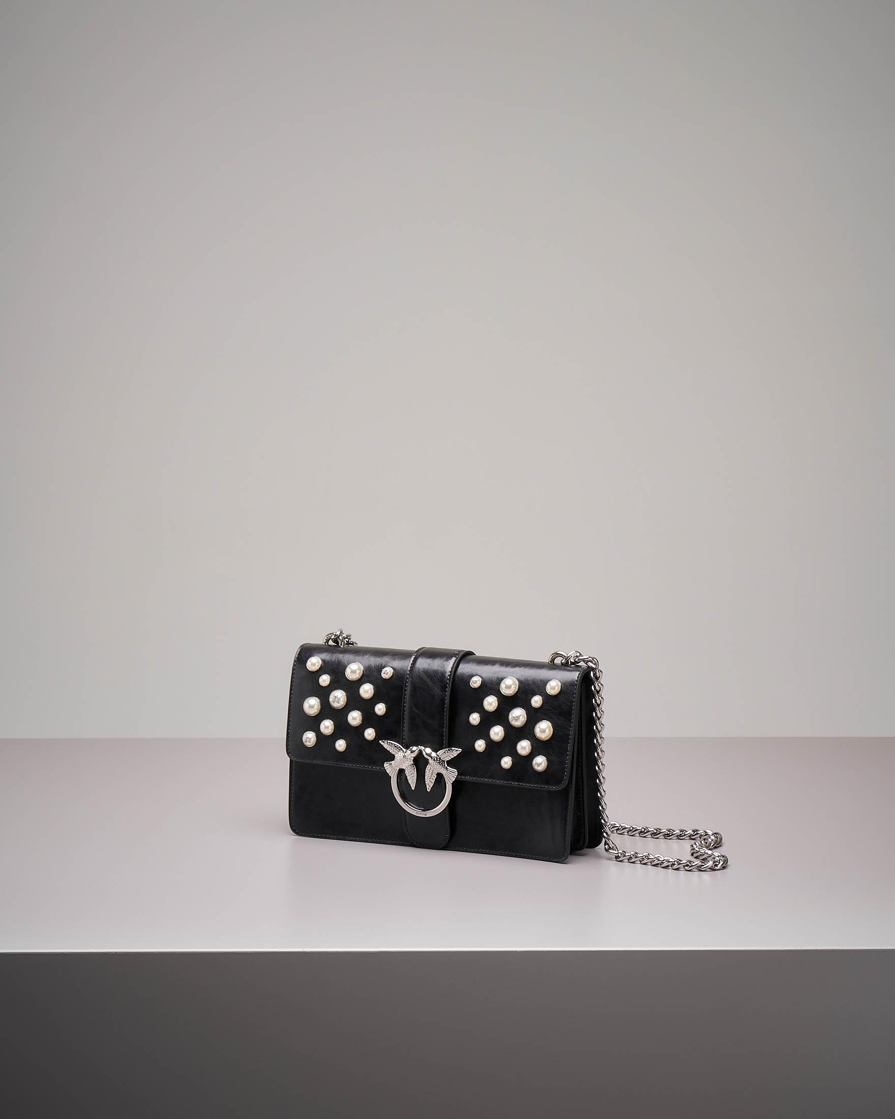 Tracolla Love Bag in vera pelle con perle