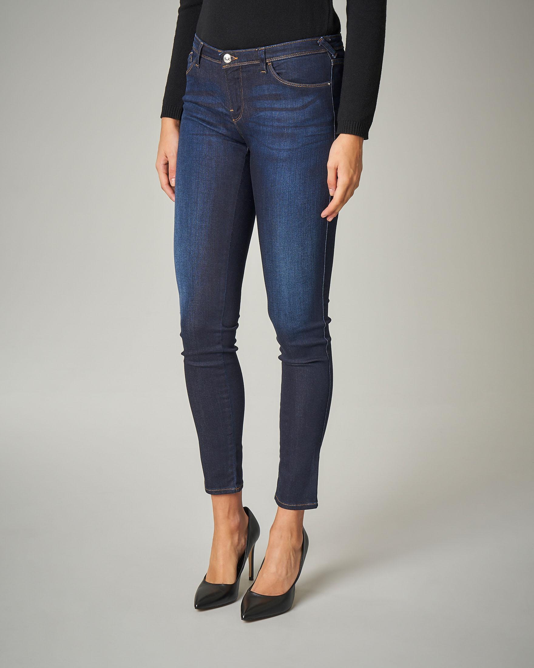 Jeans skinny elasticizzati blu effetto delavè
