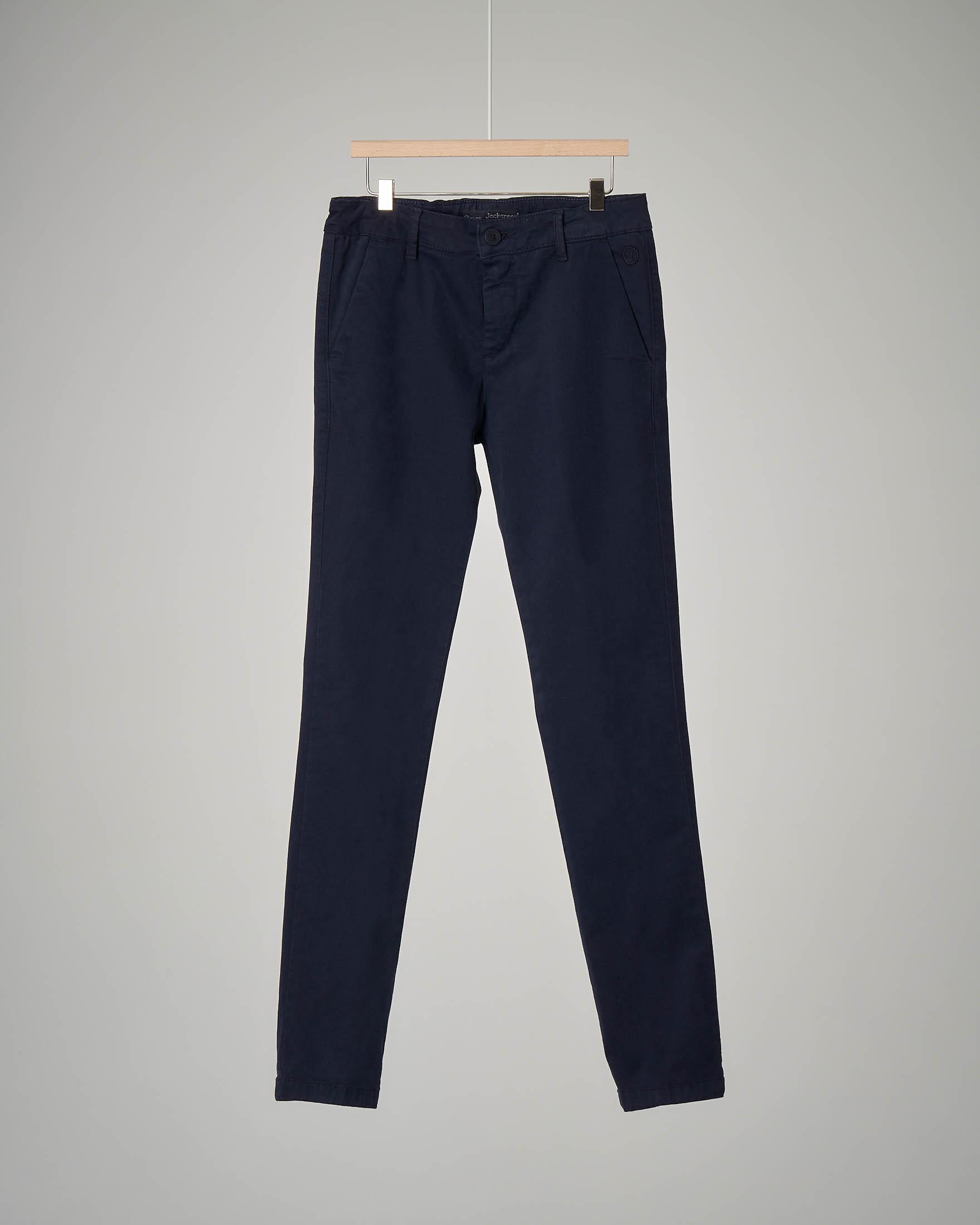 Pantalone chino blu in cotone elaticizzato