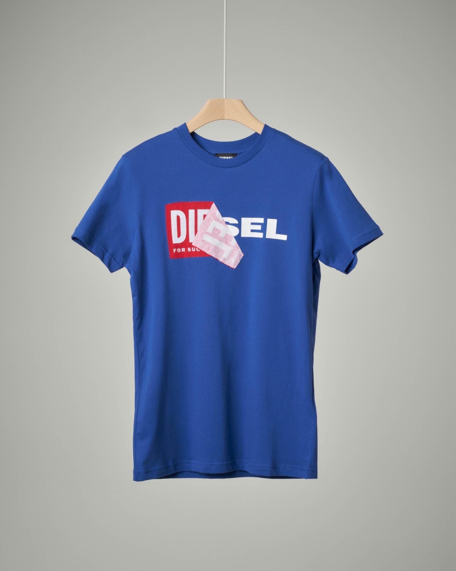 T-shirt blu royal con logo