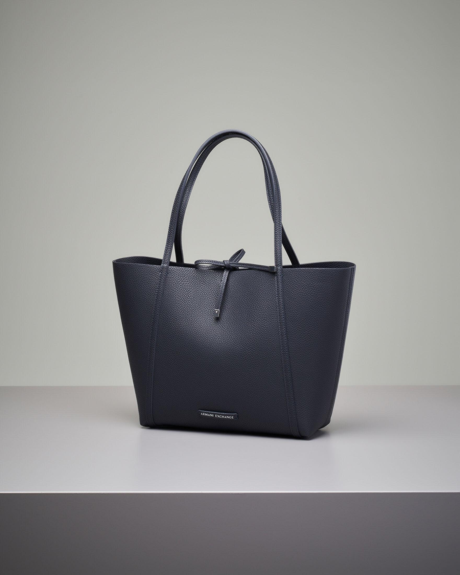 Shopping bag morbida blu reversibile