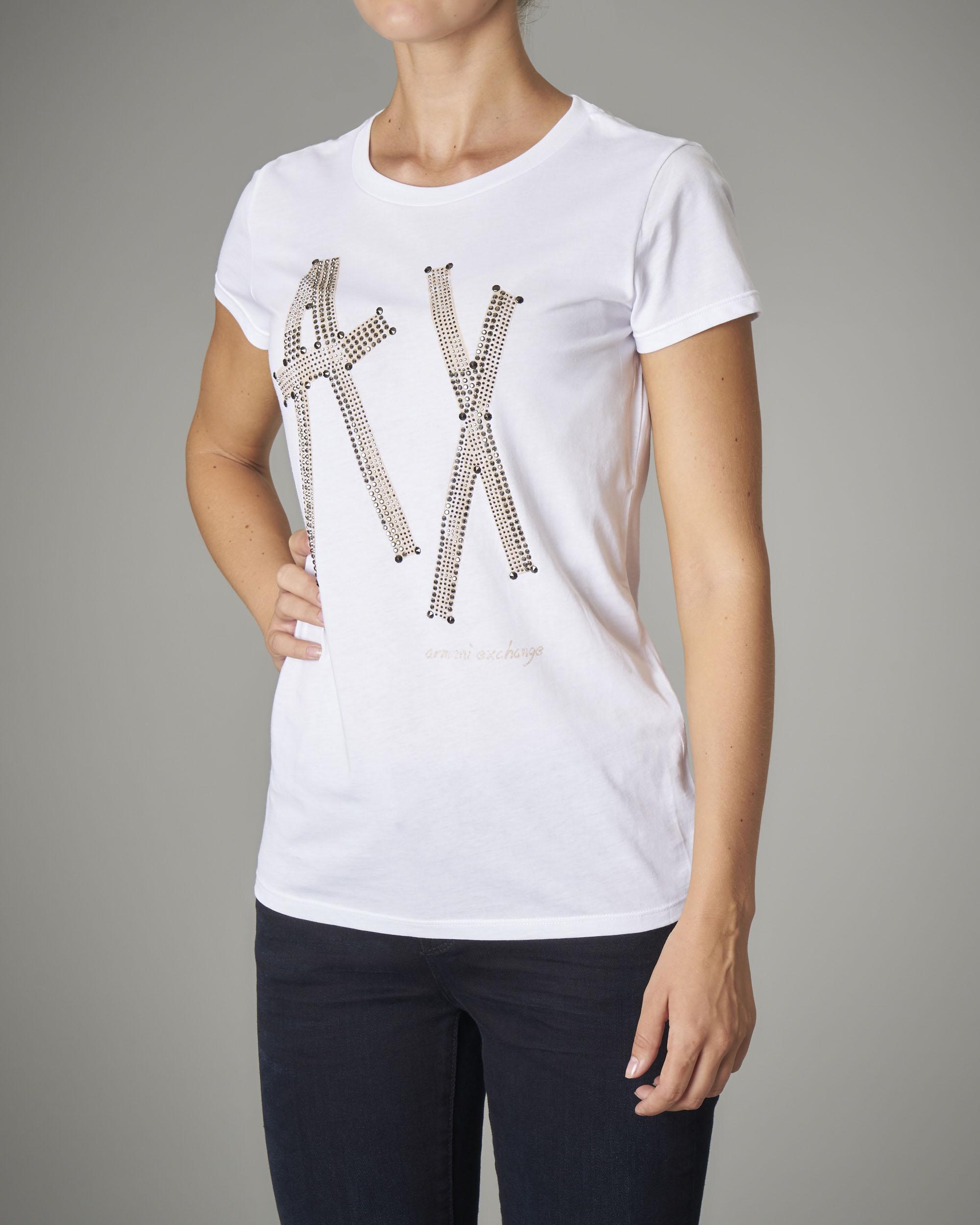 T-shirt bianca in cotone manica corta con logo