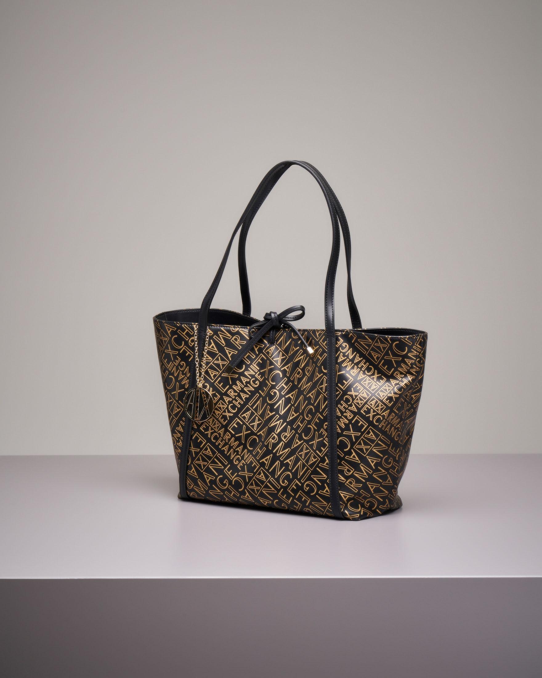 Shopping bag morbida a fantasia logo