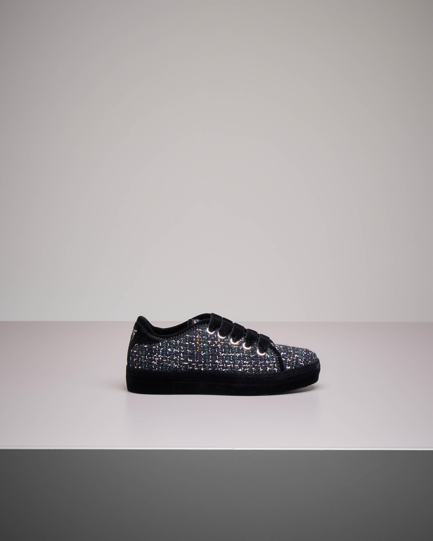 Sneakers in stuoia melange e velluto