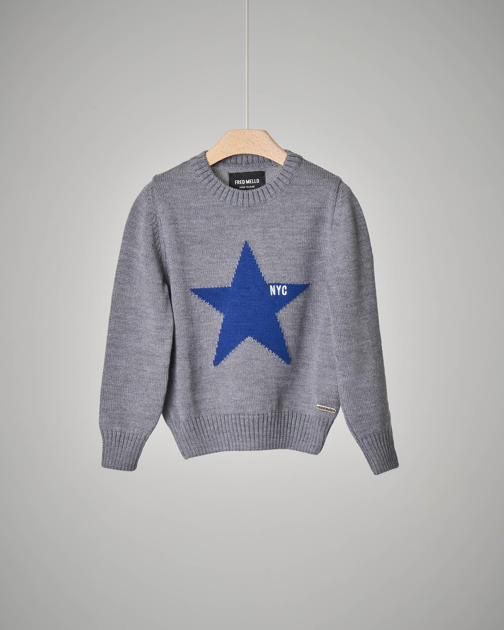 Maglioncino grigio con stella ricamata 2-7 anni