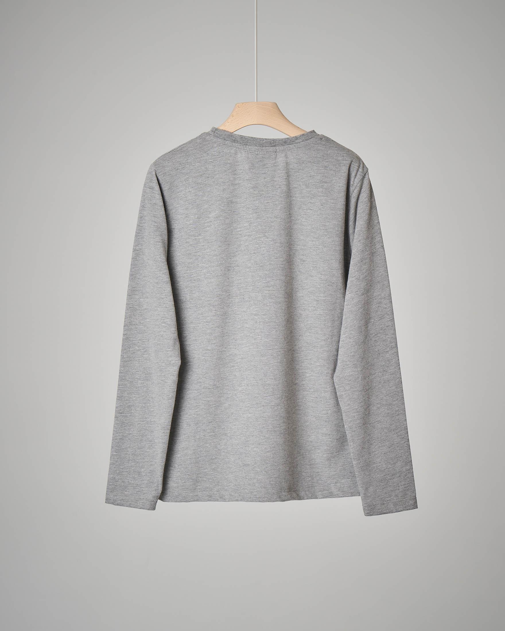 T-shirt grigia a manica lunga con stampa XS-XXL