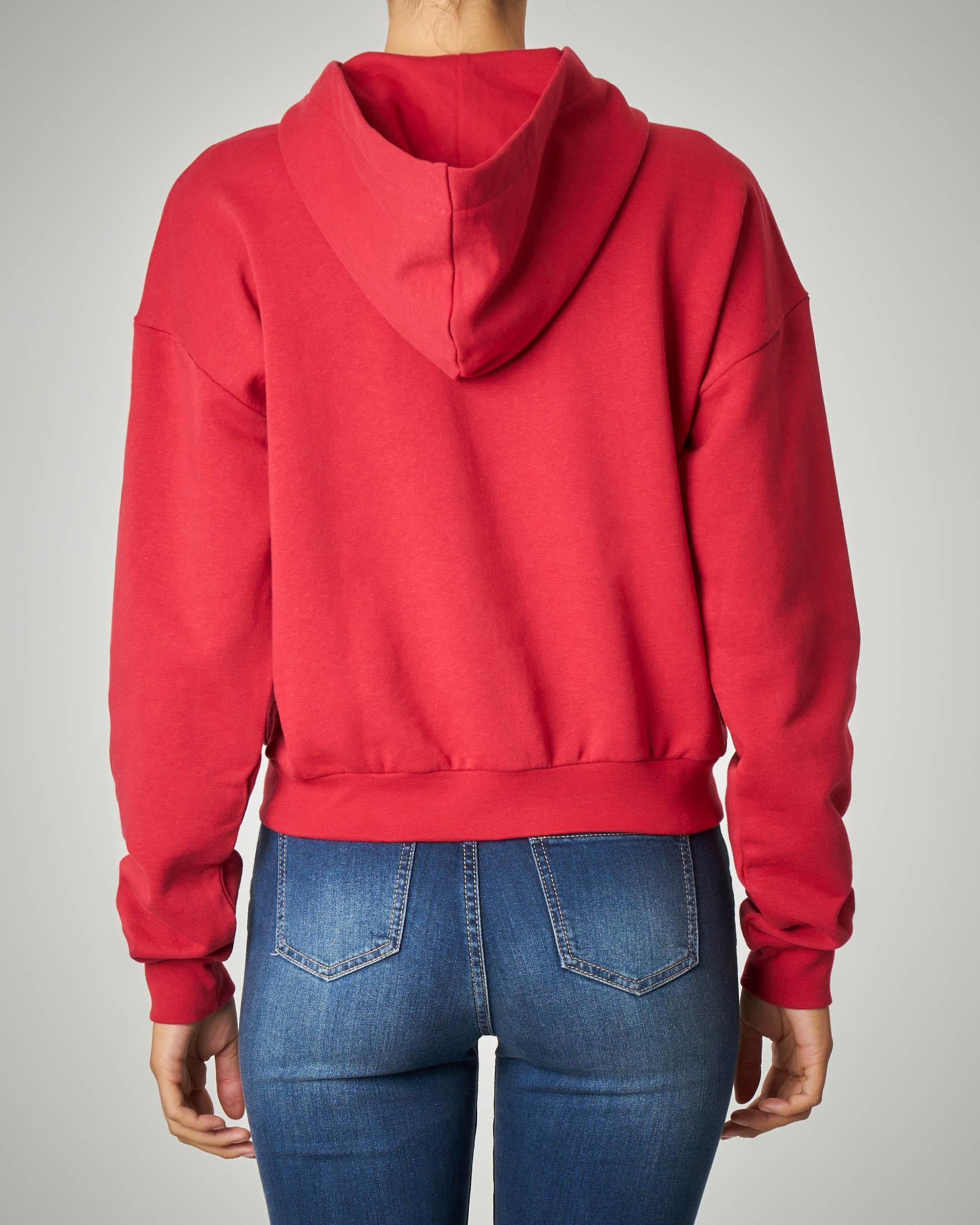 Felpa rossa stampata con cappuccio