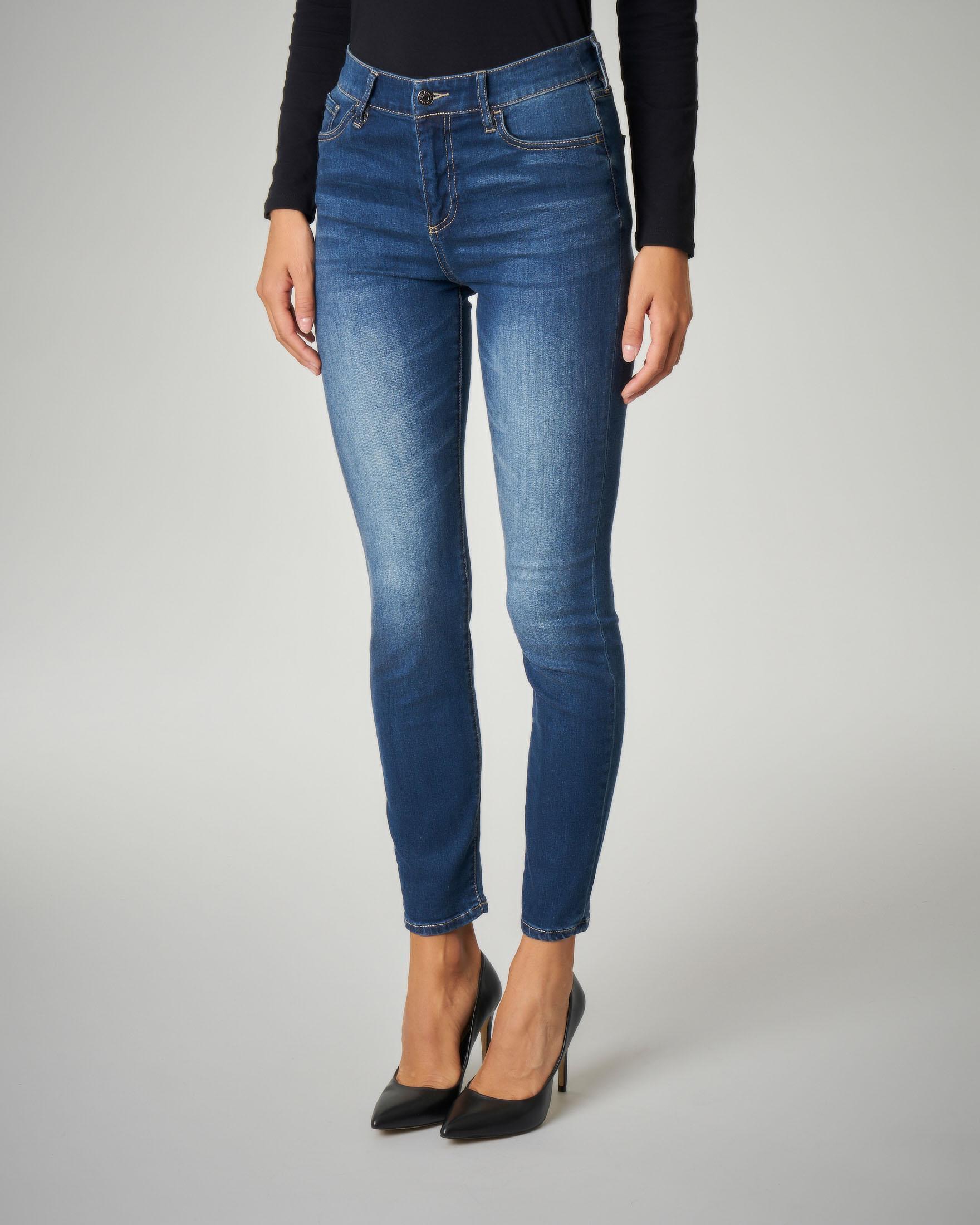 Jeans skinny blu a vita alta