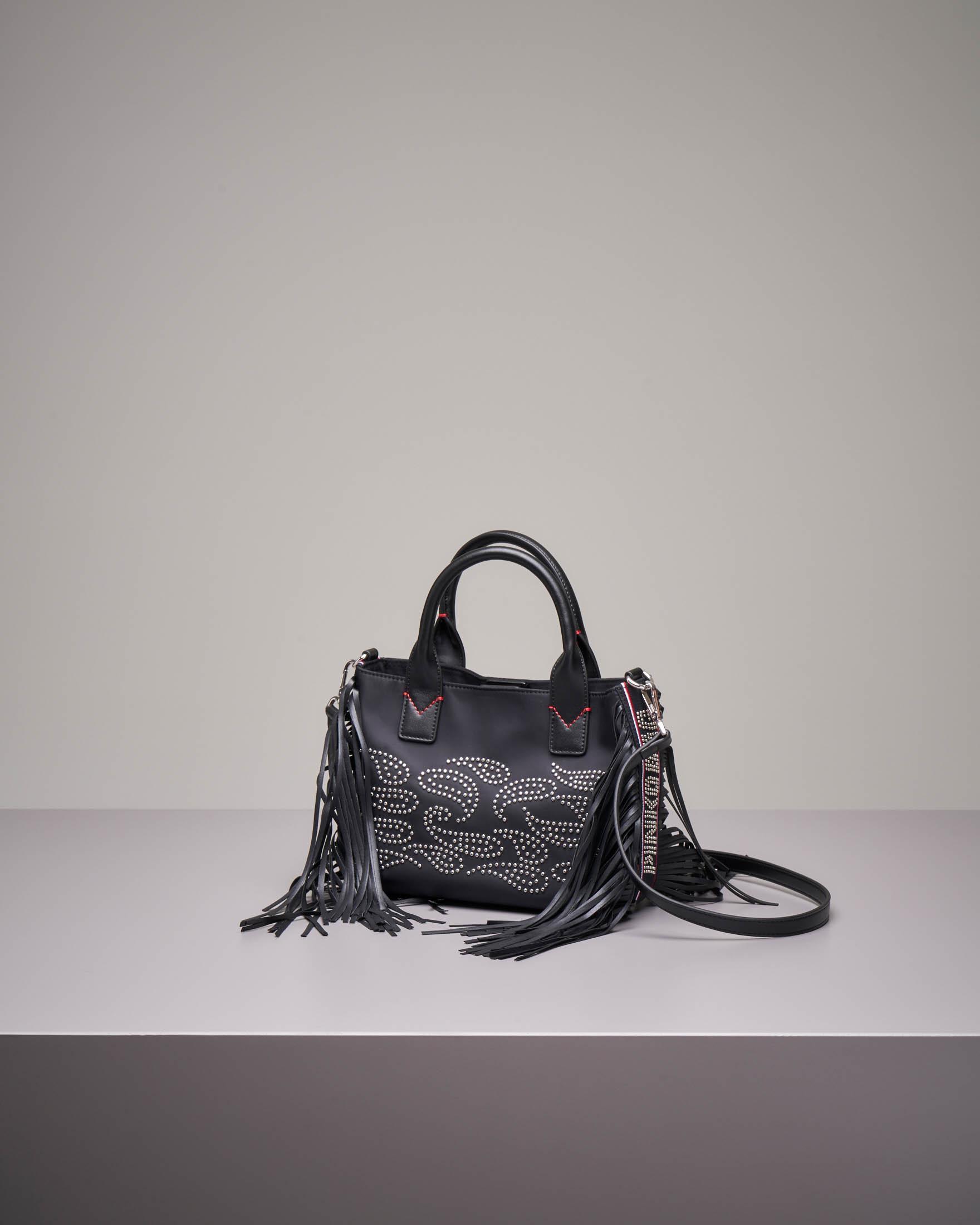 Borsa mini-shopper con frange e borchie