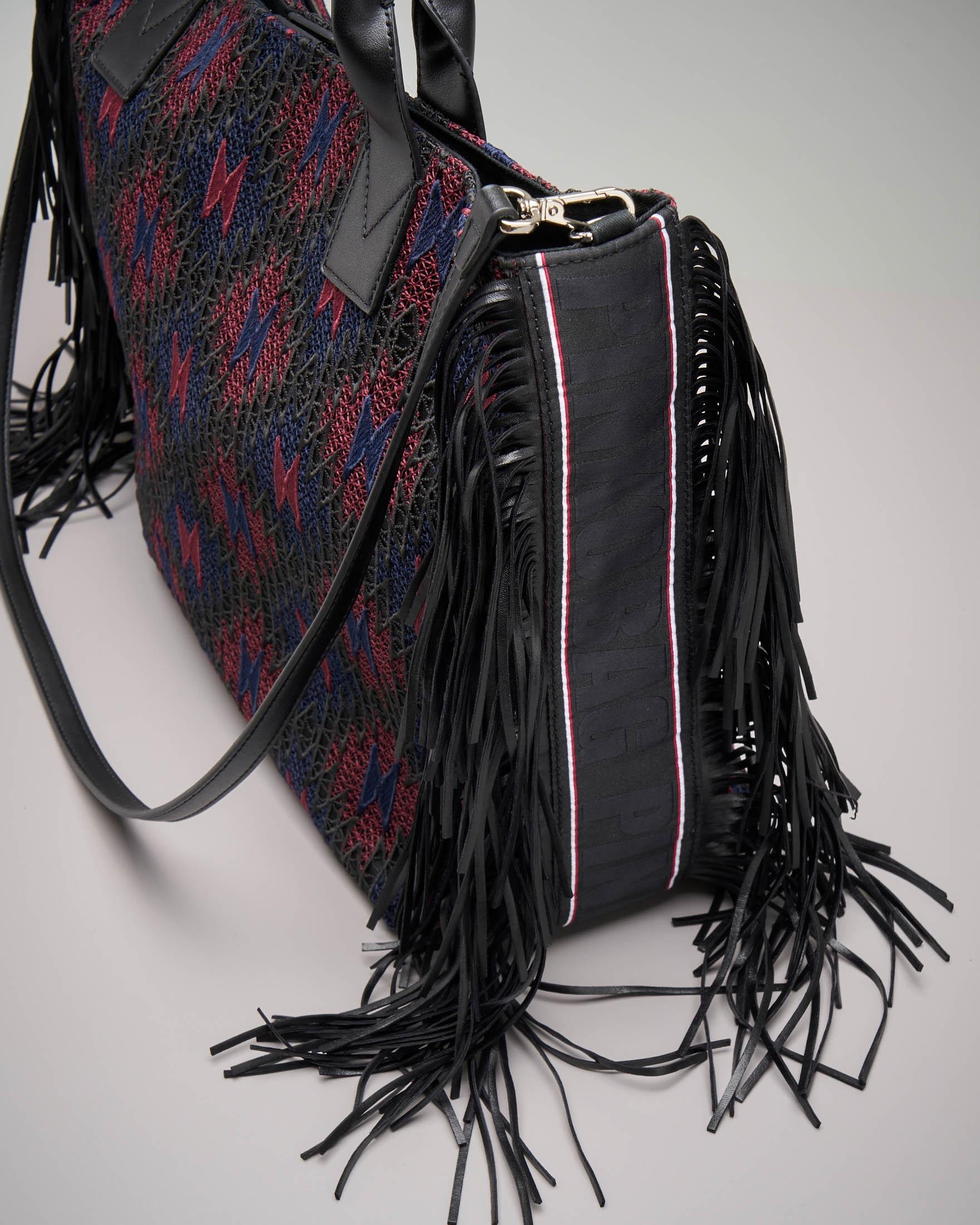 Shopper grande con frange e motivo etnico-navajo blu e bordeaux