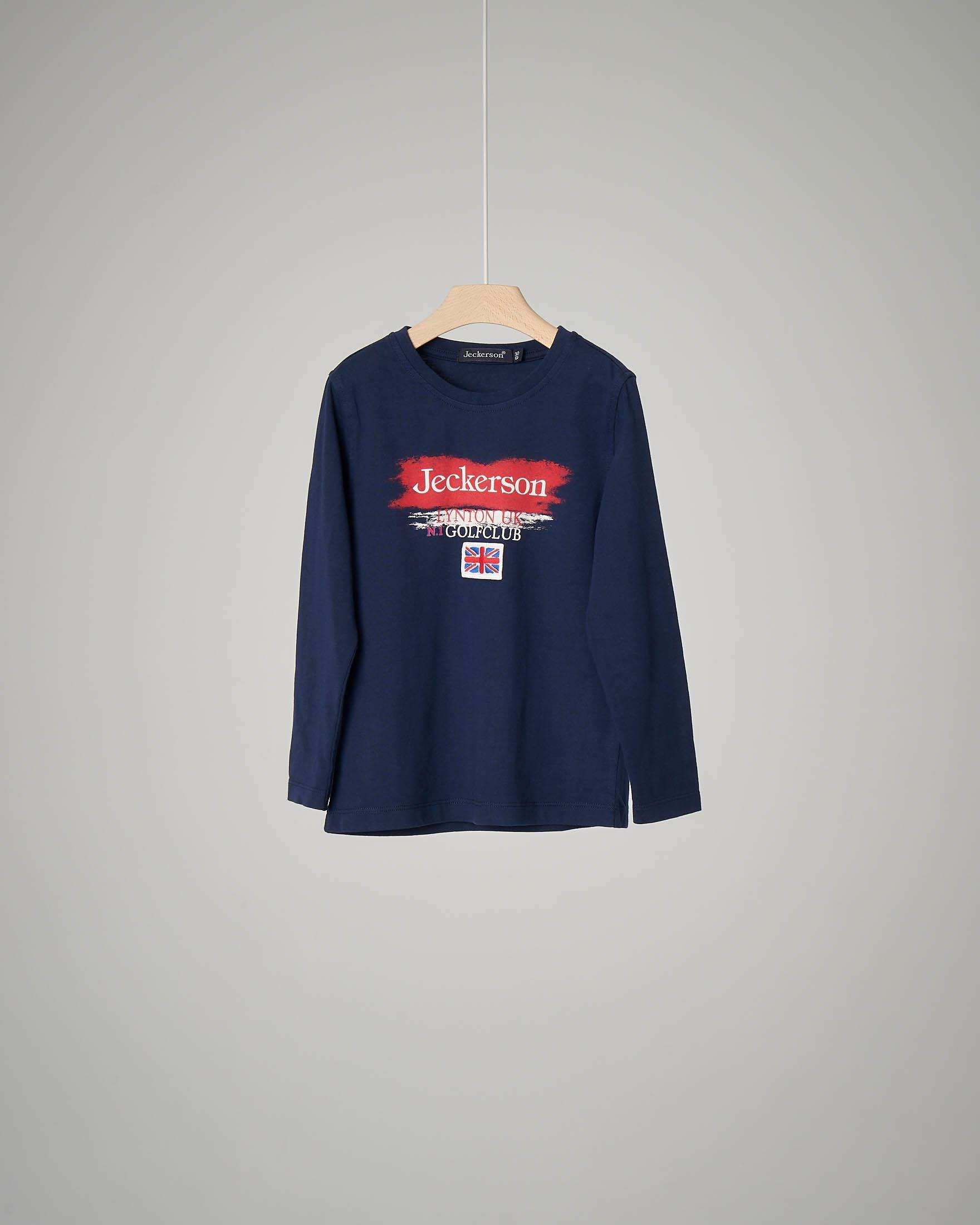 T-shirt blu a manica lunga con logo