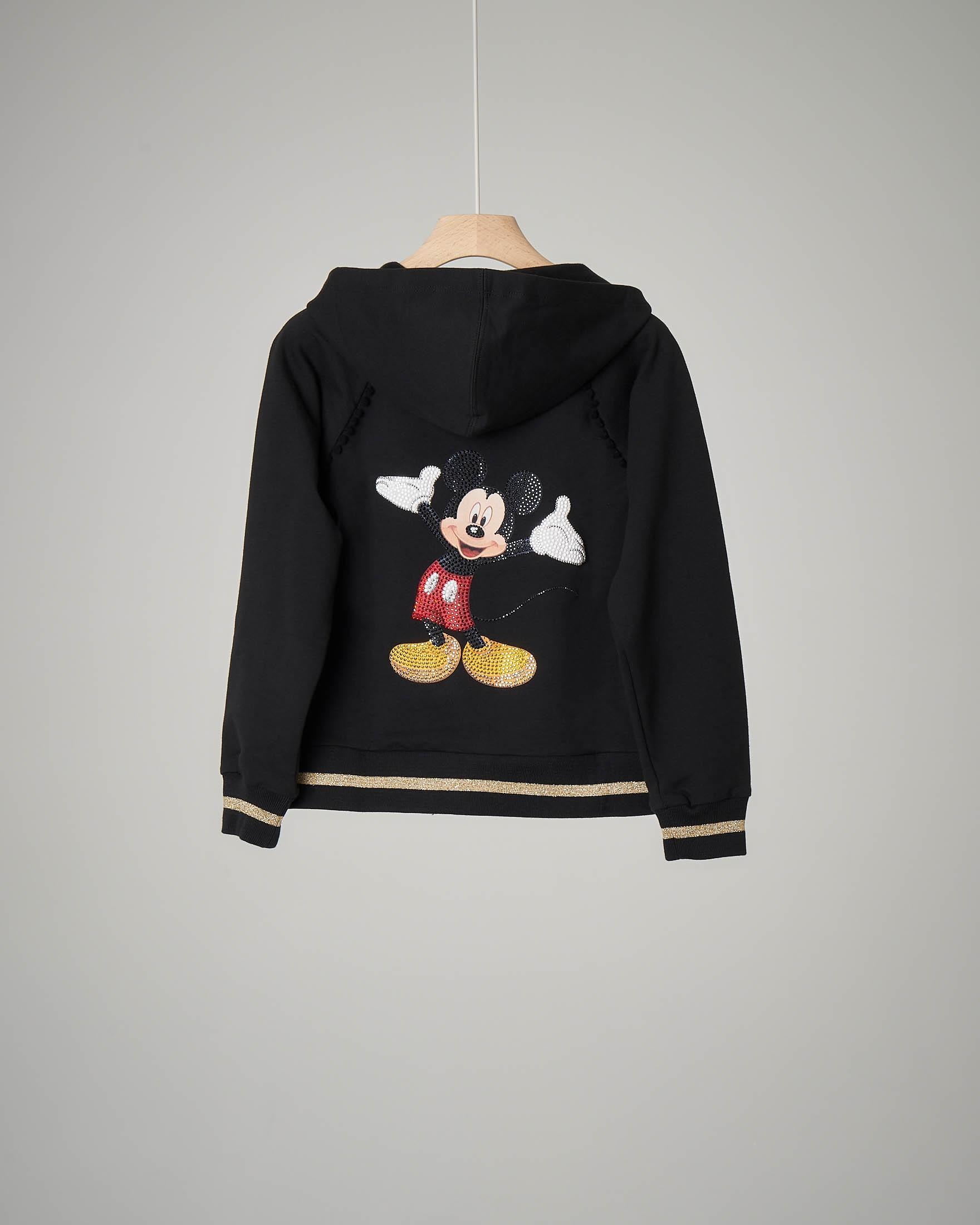 Felpa nera Mickey Mouse con cappuccio 6-12 anni
