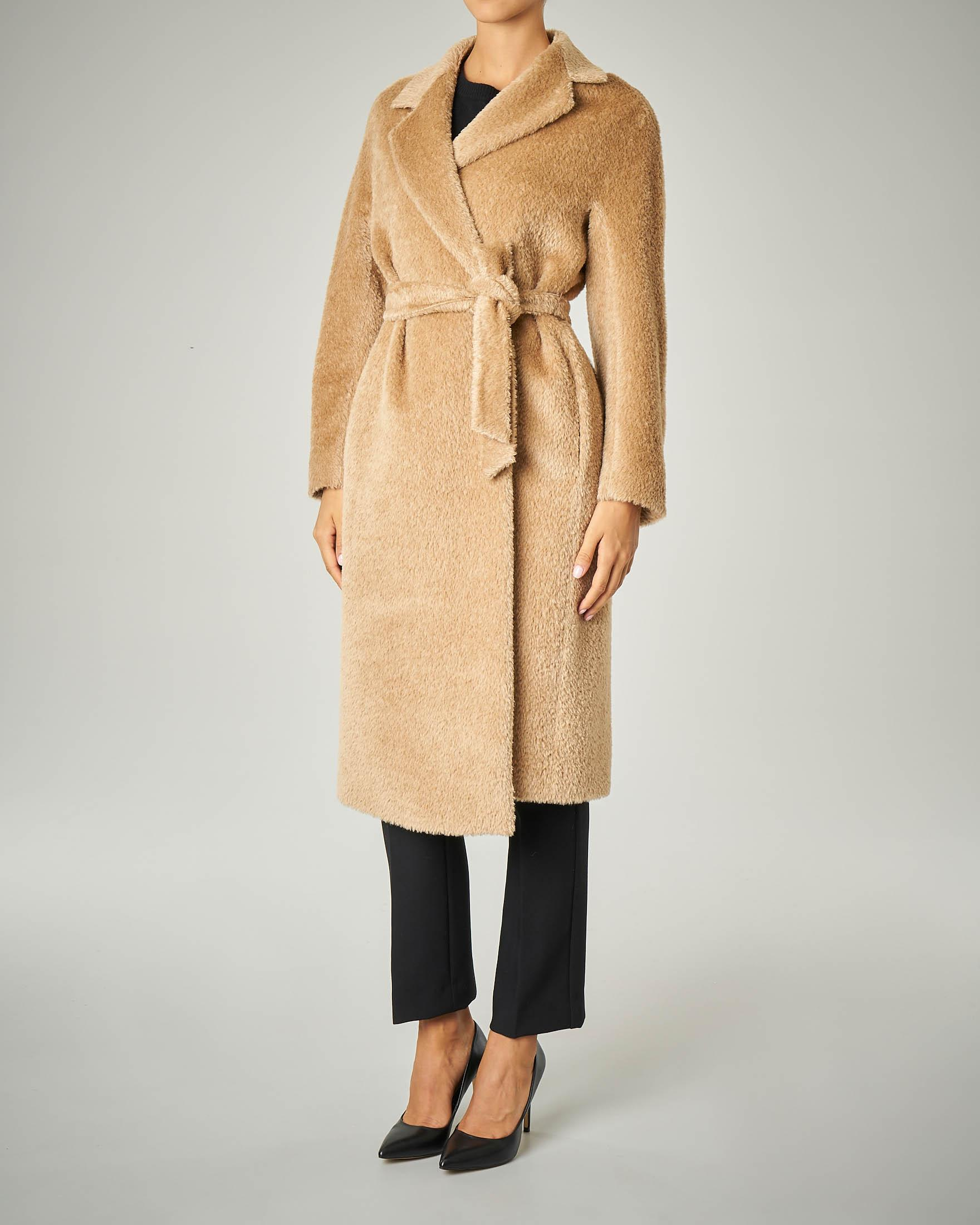 Cappotto vestaglia in alpaca e lana effetto orsetto