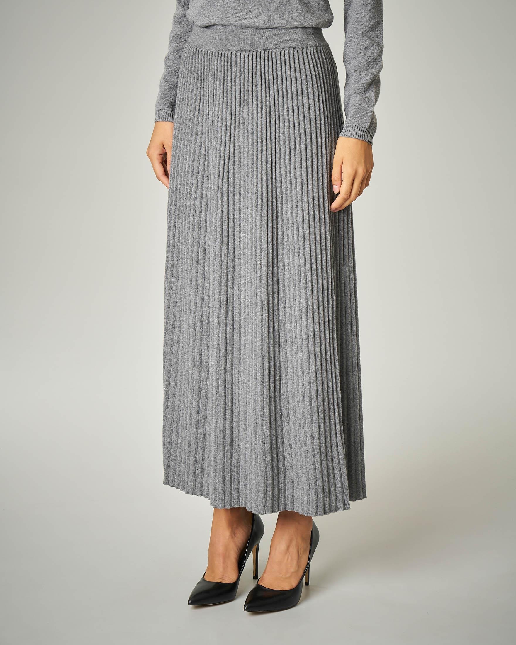 Gonna in tricot plissè colore grigio