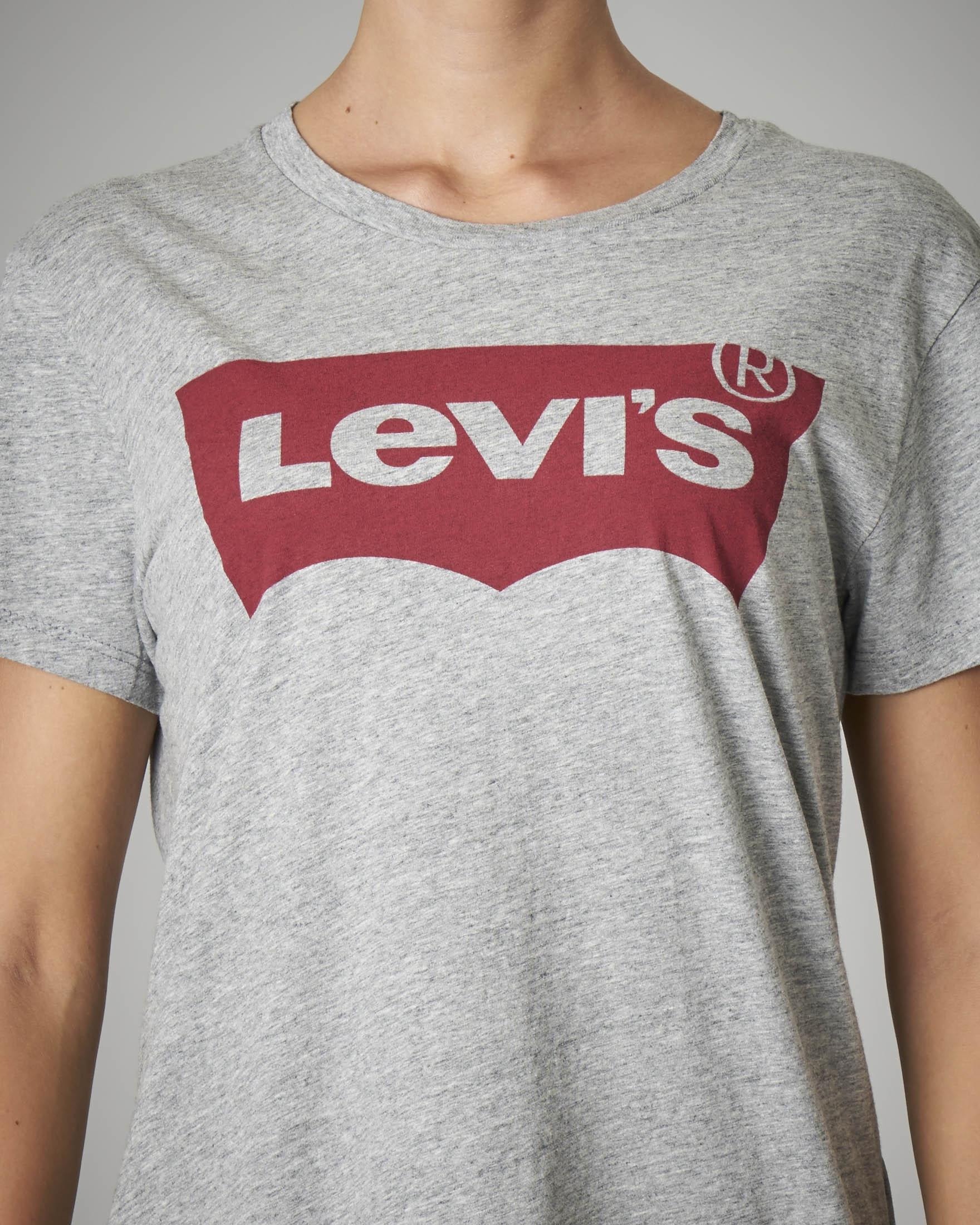 T-shirt girocollo in cotone grigia con logo