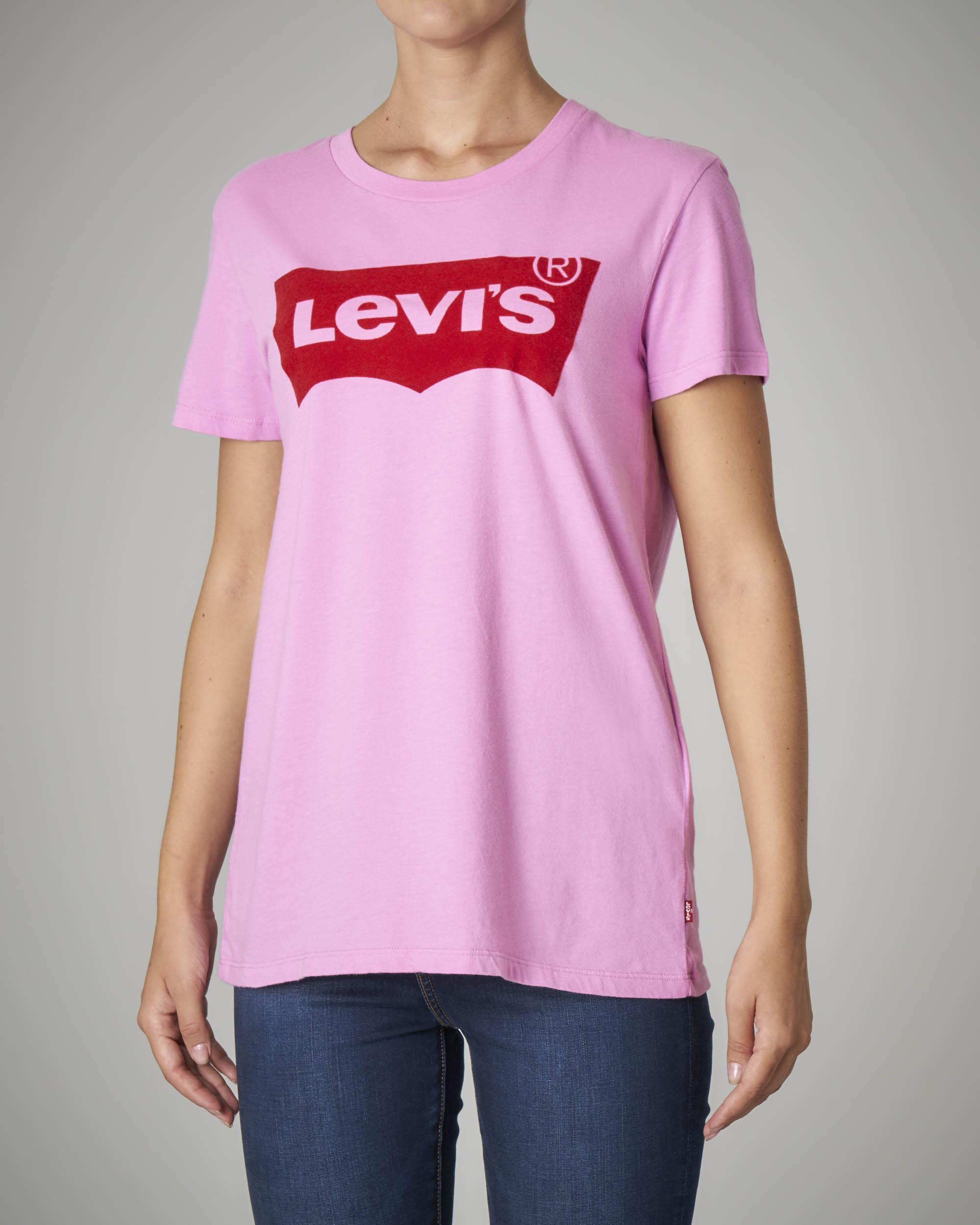 T-shirt girocollo in cotone rosa con logo
