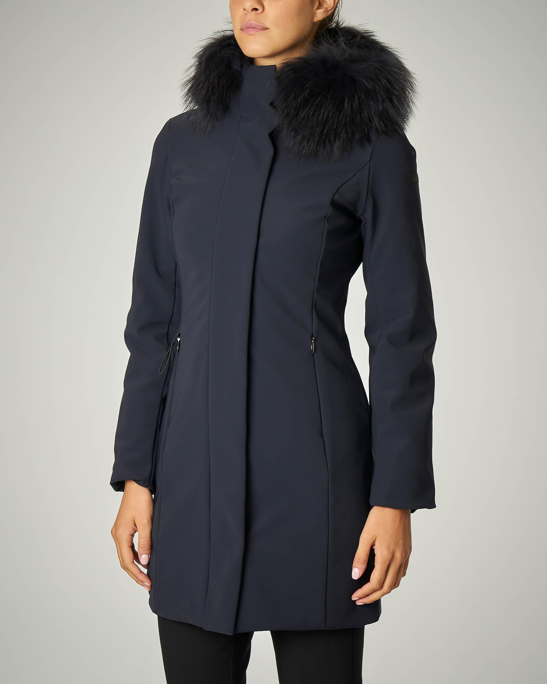 Cappotto blu imbottito con cappuccio