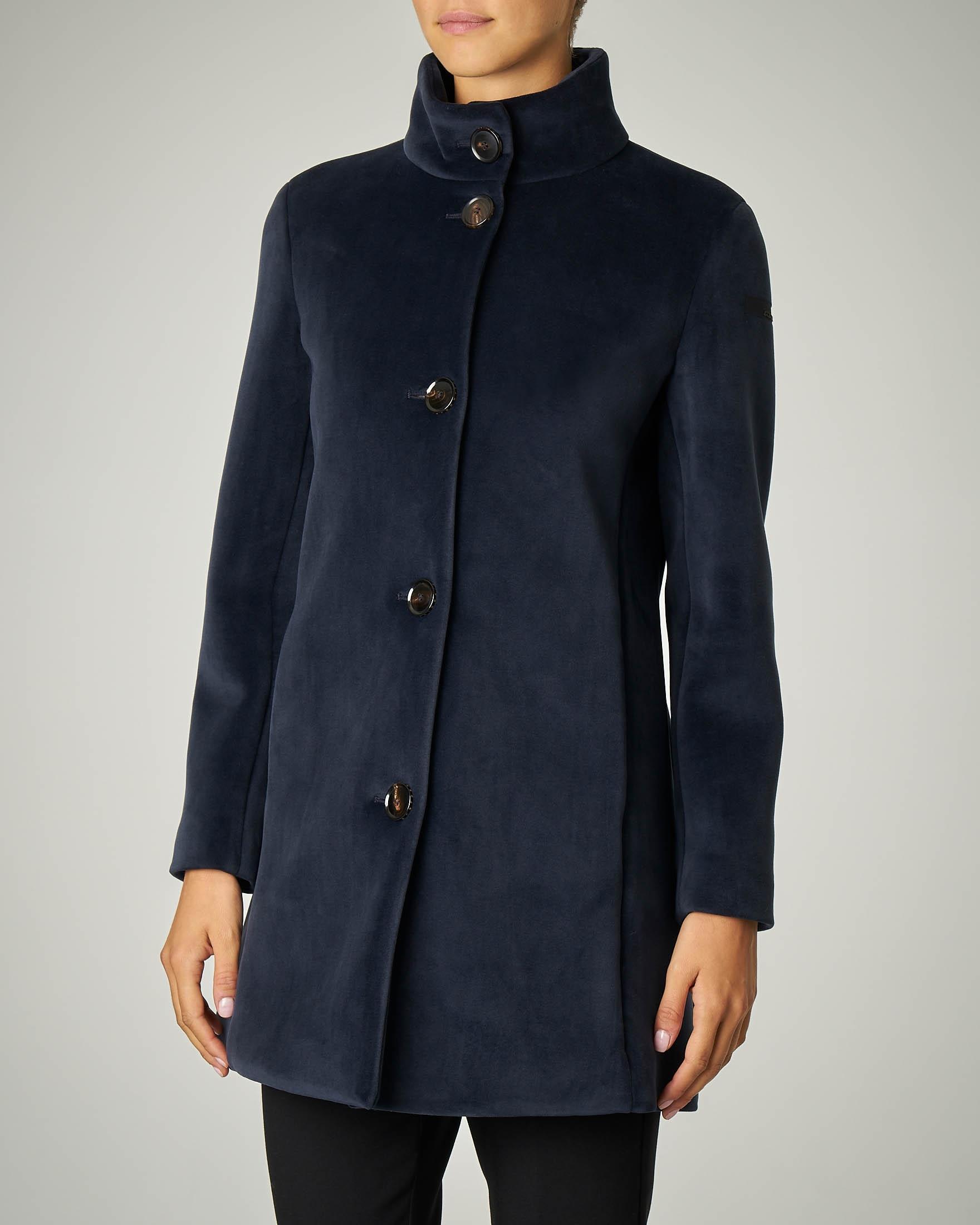 Cappotto blu in velluto