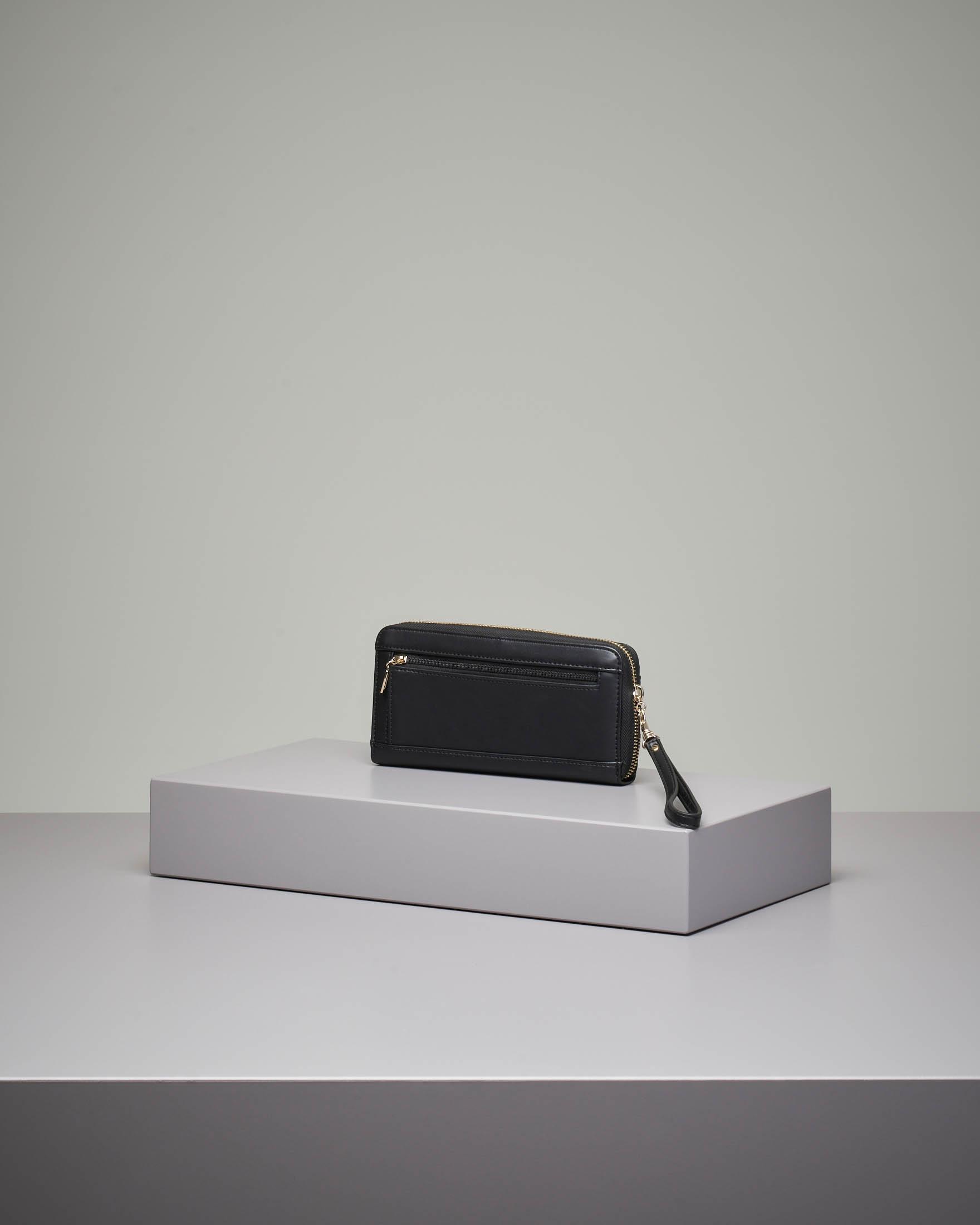 Portafoglio nero grande con chiusura a cerniera