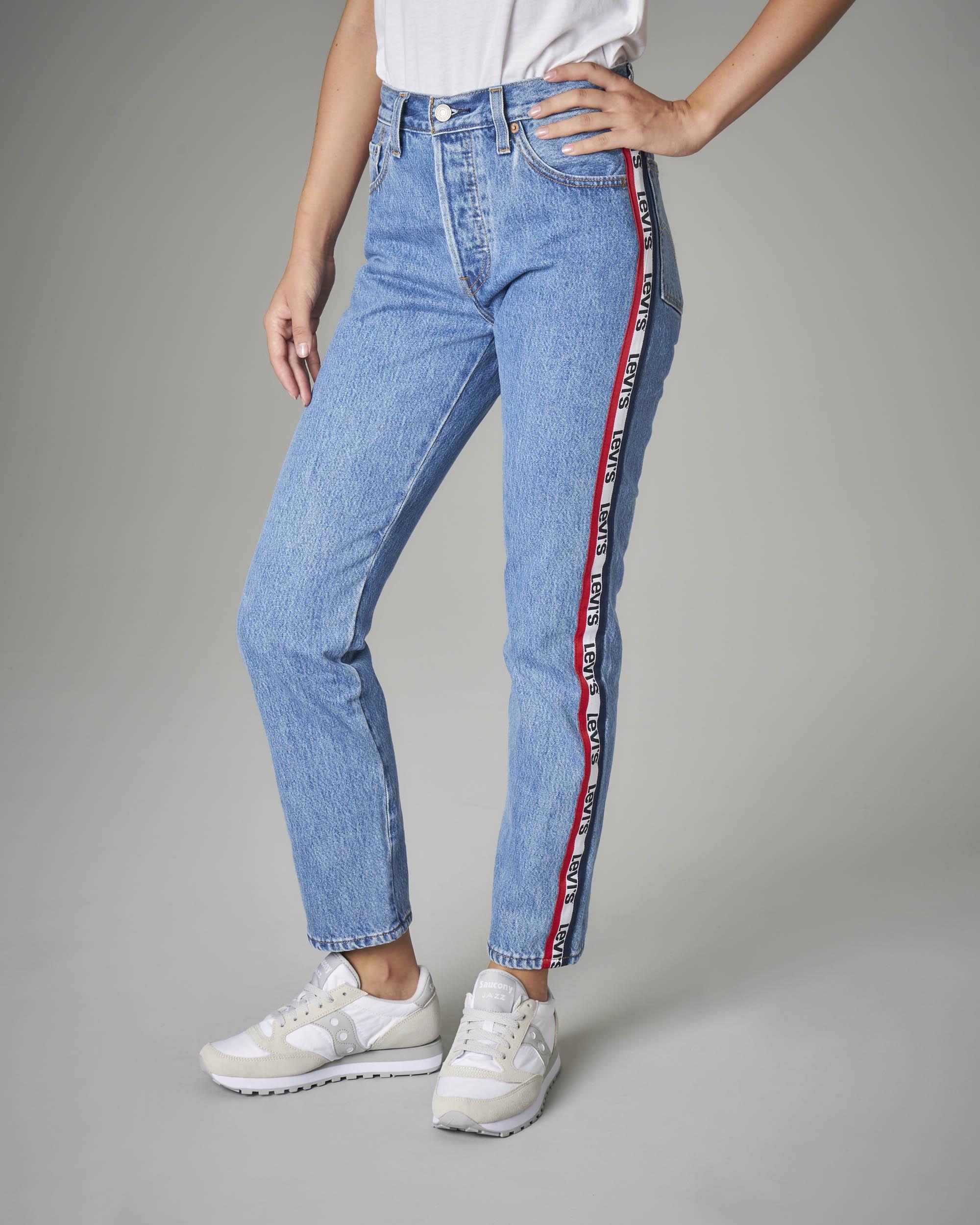 Jeans 501 crop con bande logo