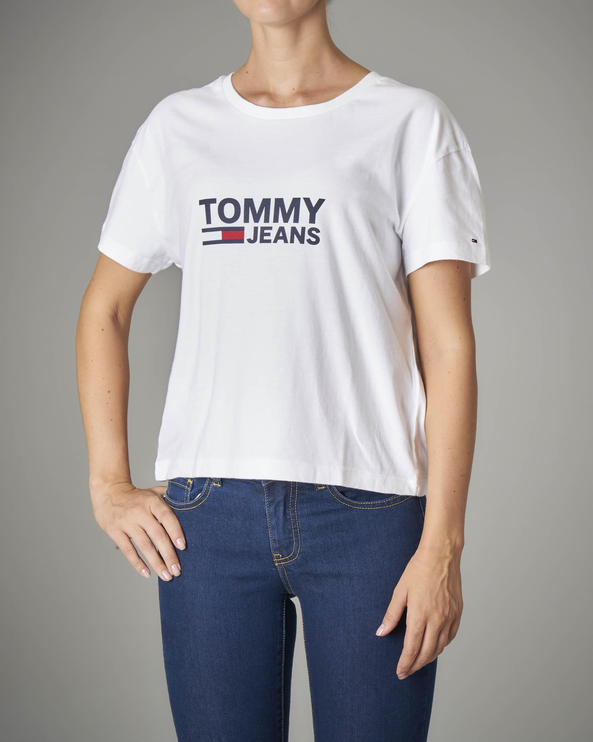 T-shirt manica corta bianca con logo