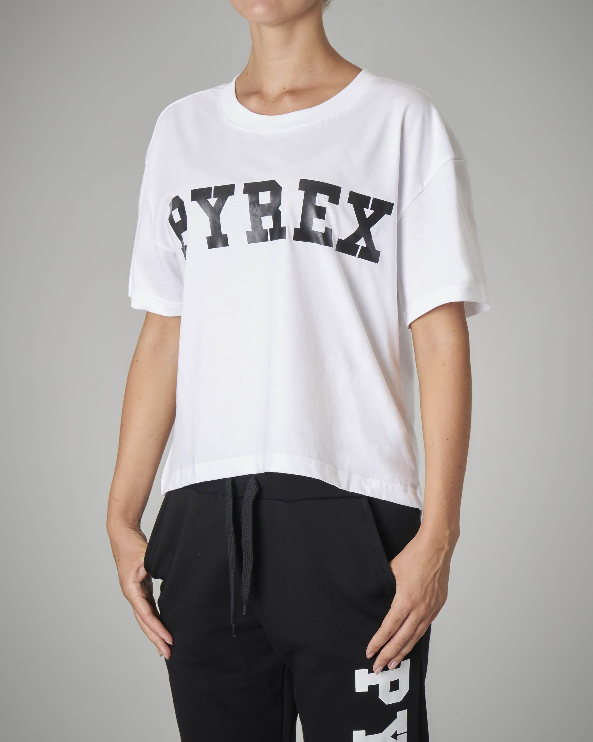 T-shirt crop bianca con logo a tinta unita