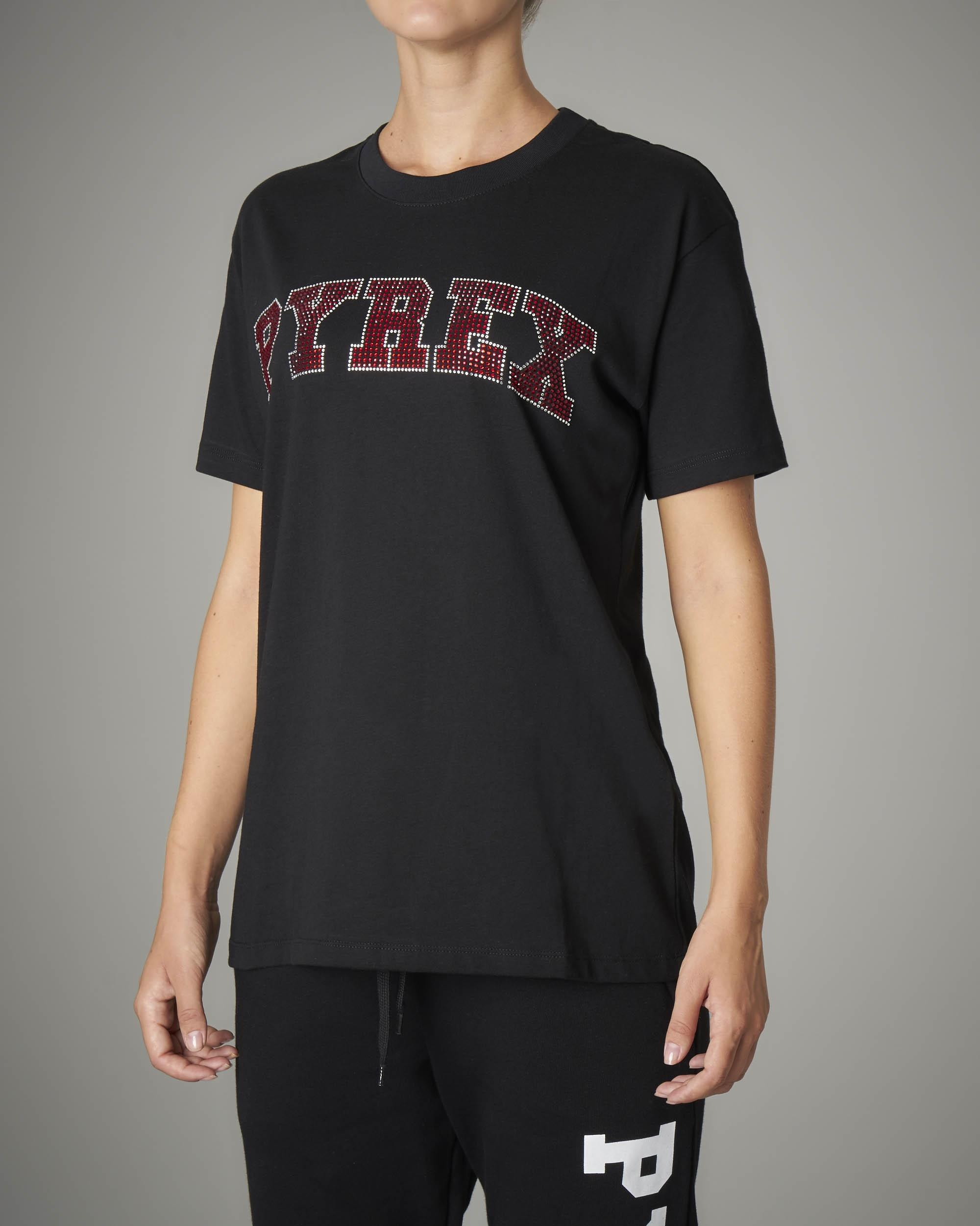 T-shirt nera logo con strass