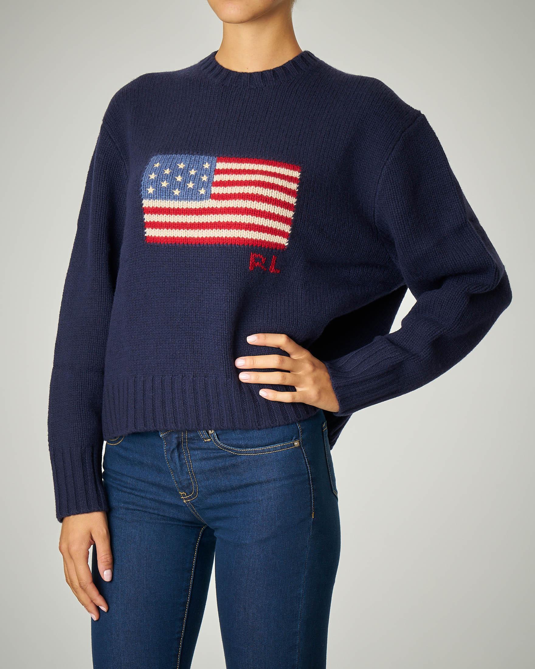 Maglia blu in lana con logo bandiera