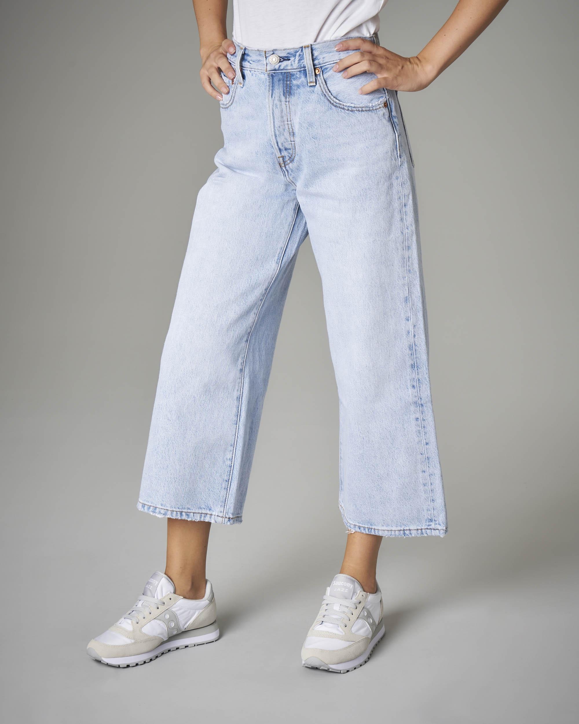 Jeans crop wide azzurro chiaro