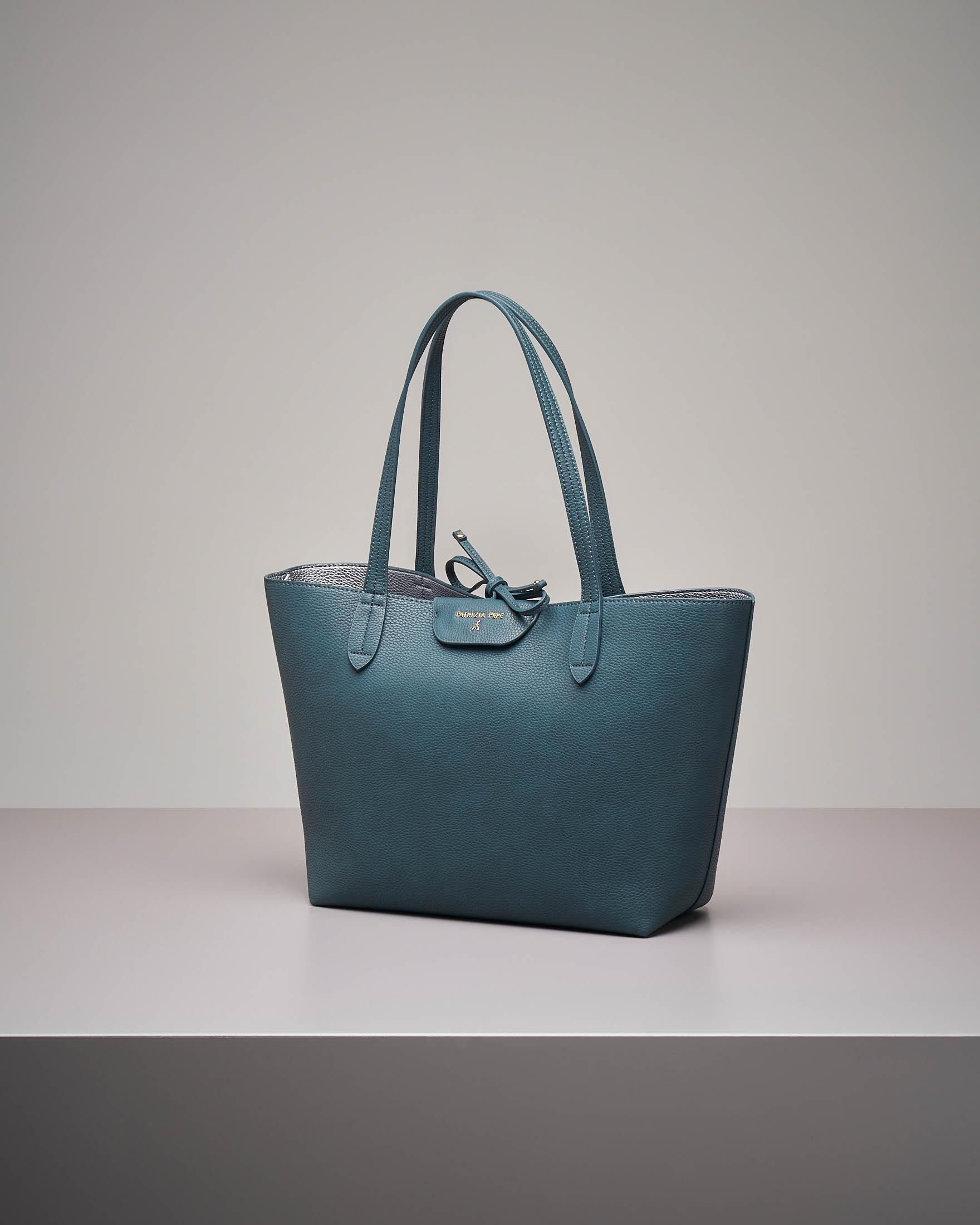 Shopping bag reversibile verde argento
