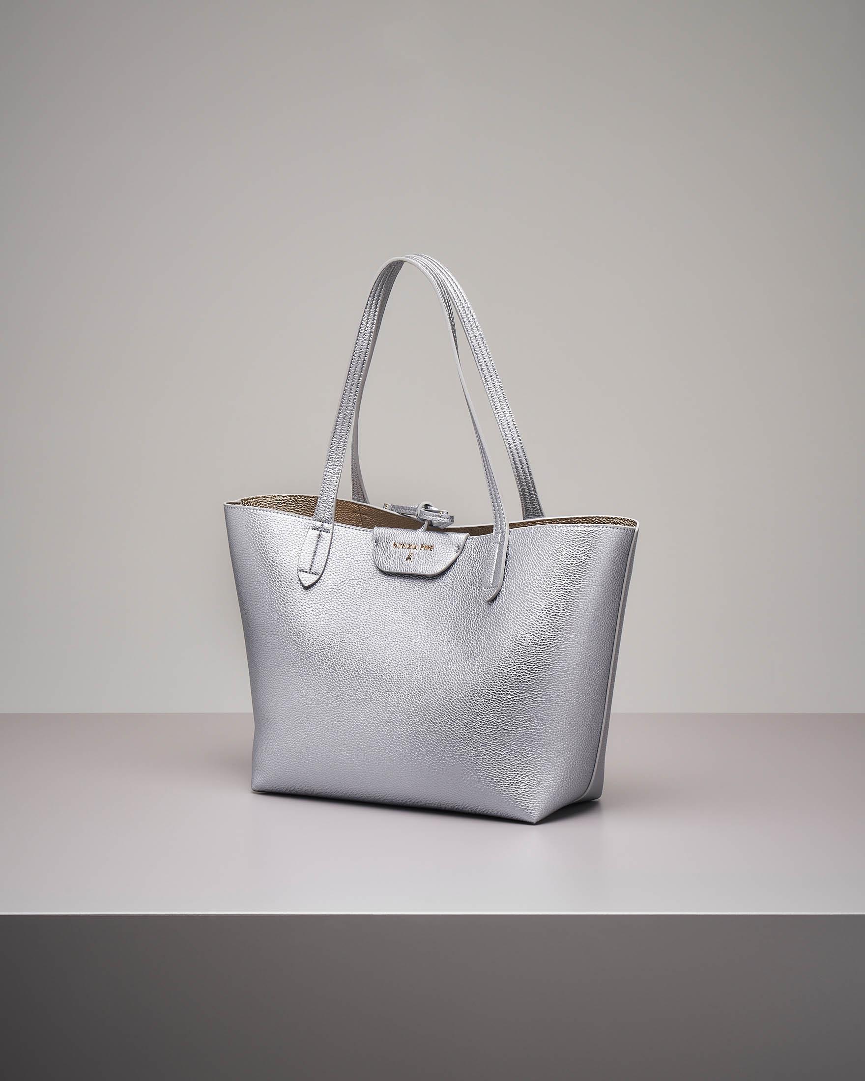 Shopping bag reversibile argento oro
