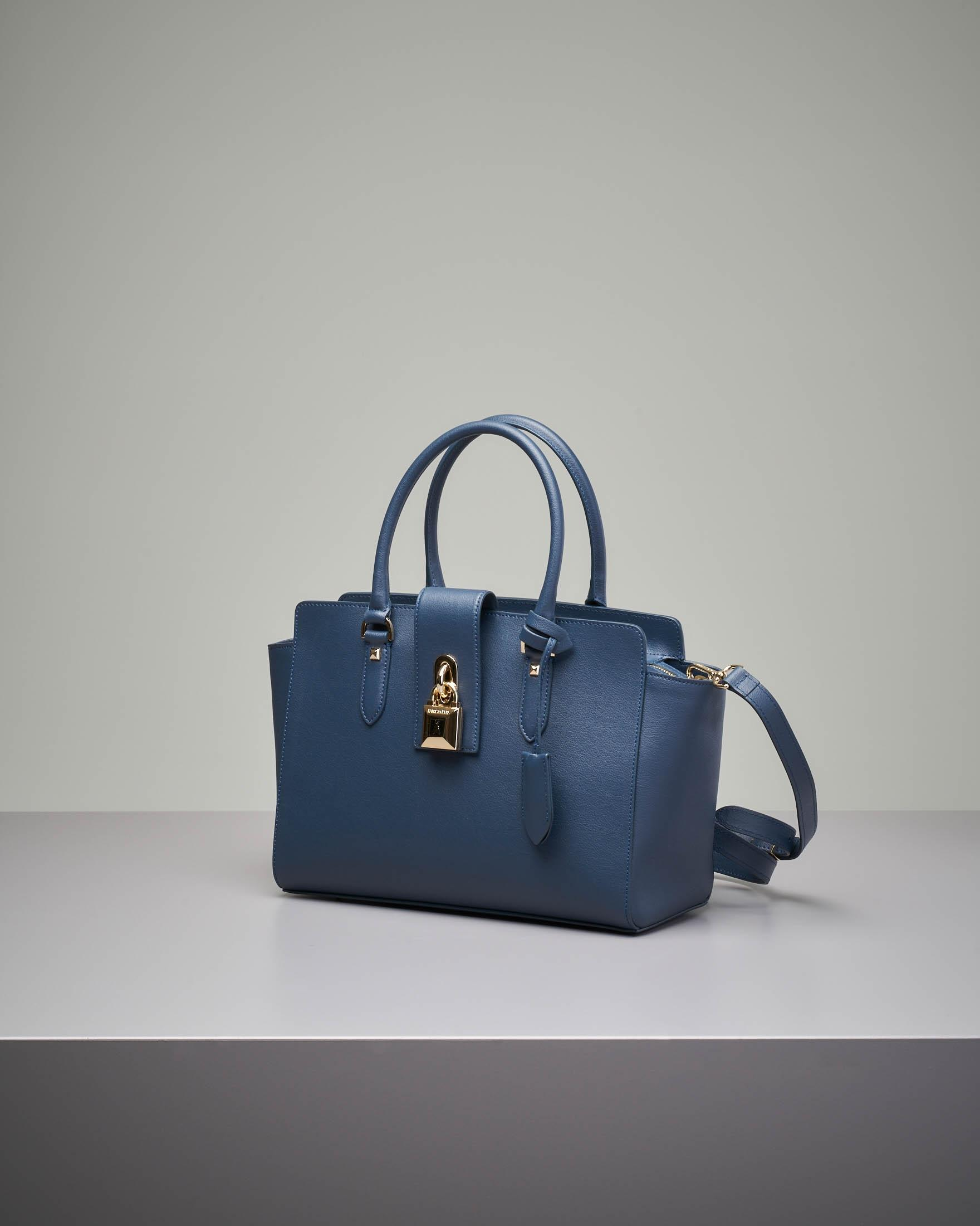 Bauletto rigido in pelle blu