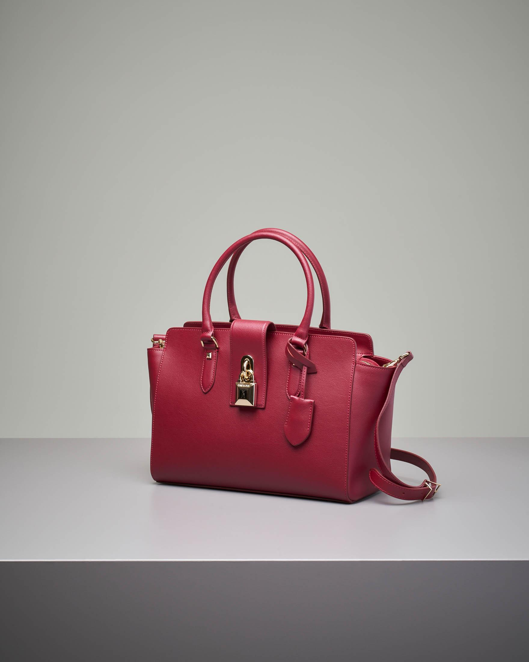 Bauletto rigido in pelle bordeaux
