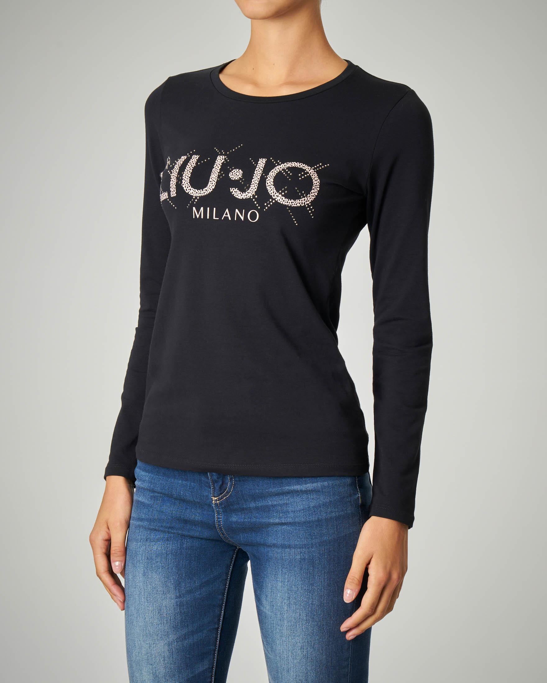 T-shirt nera manica lunga con logo