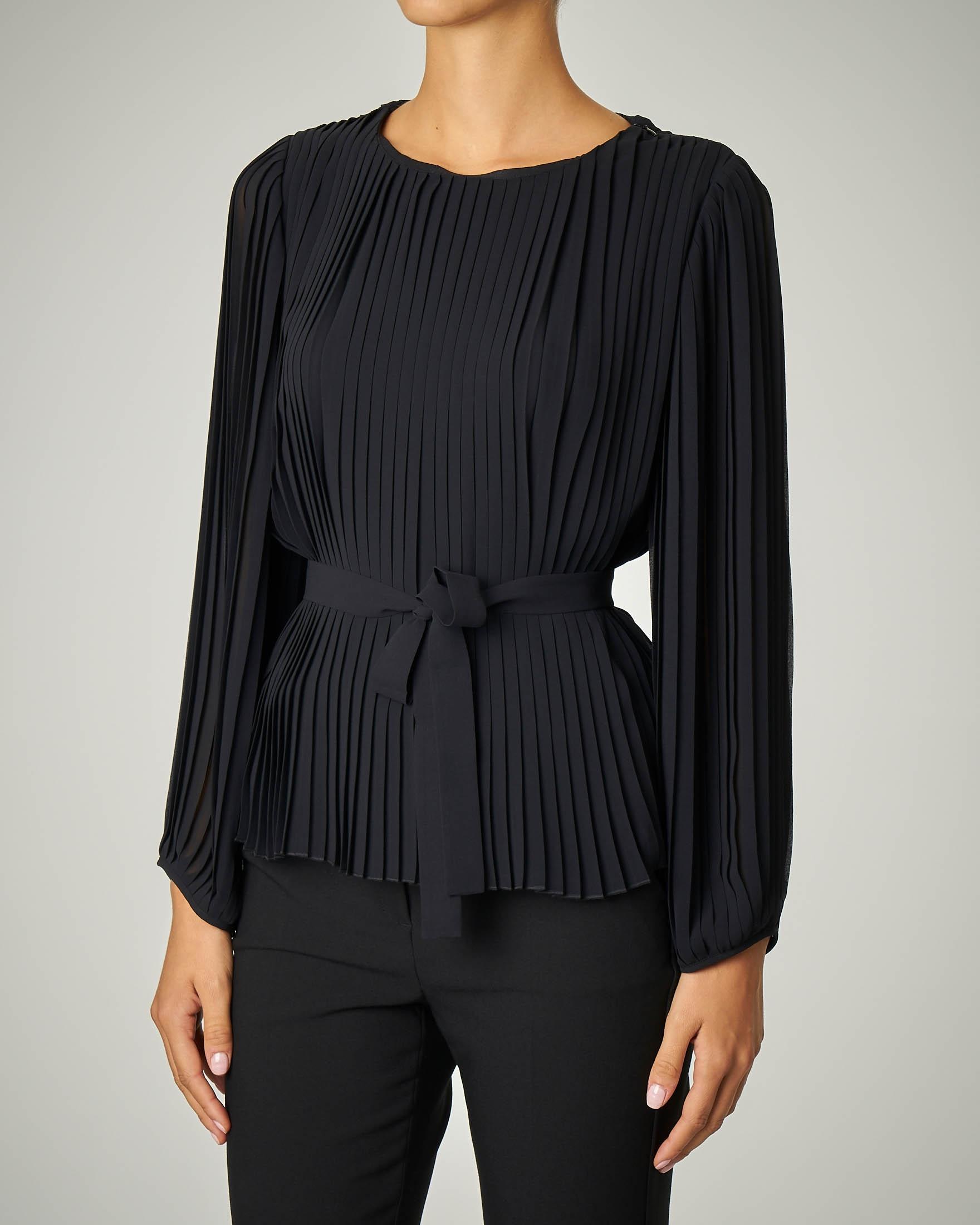 Camicia nera plissè