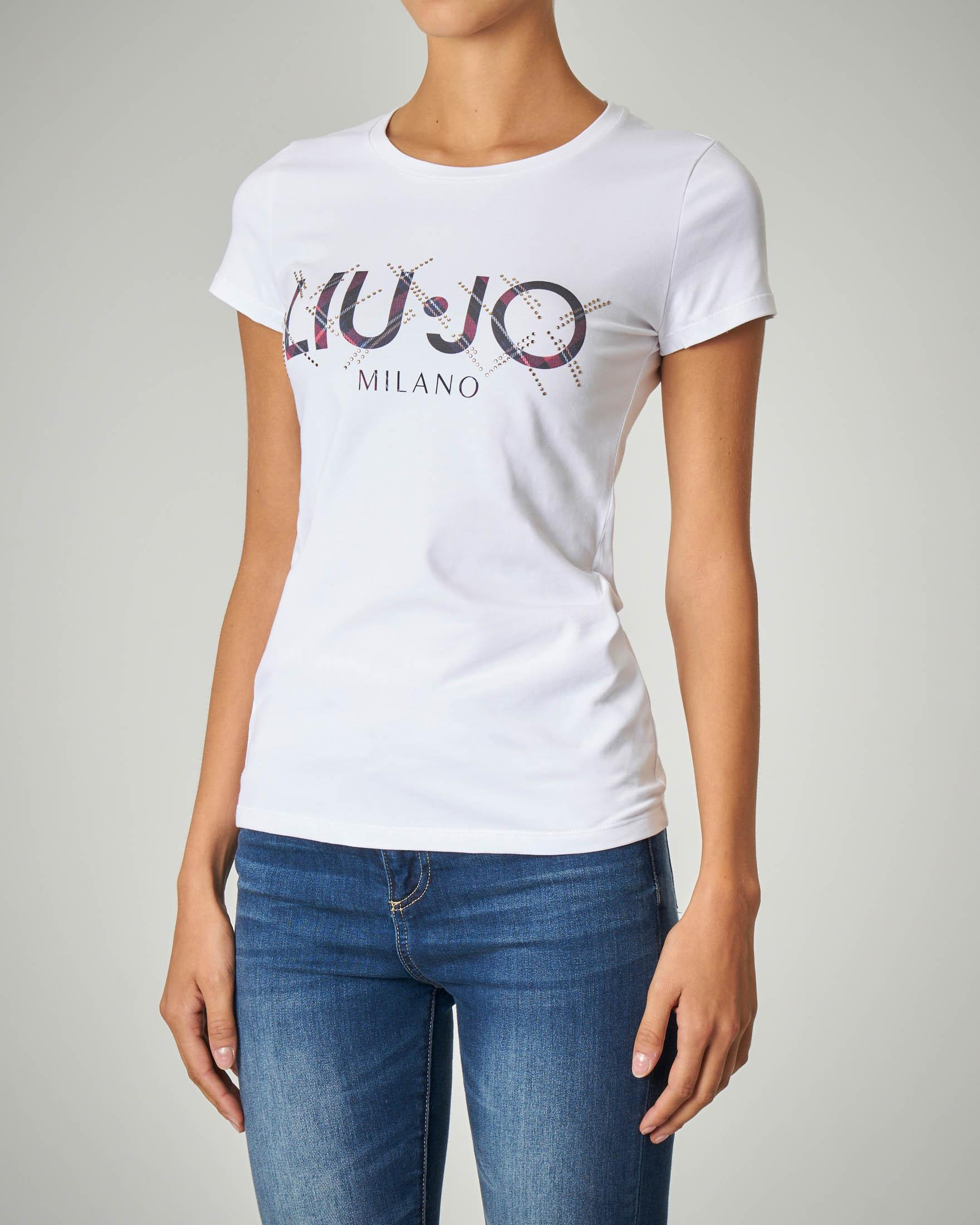 T-shirt bianca in cotone stretch con logo