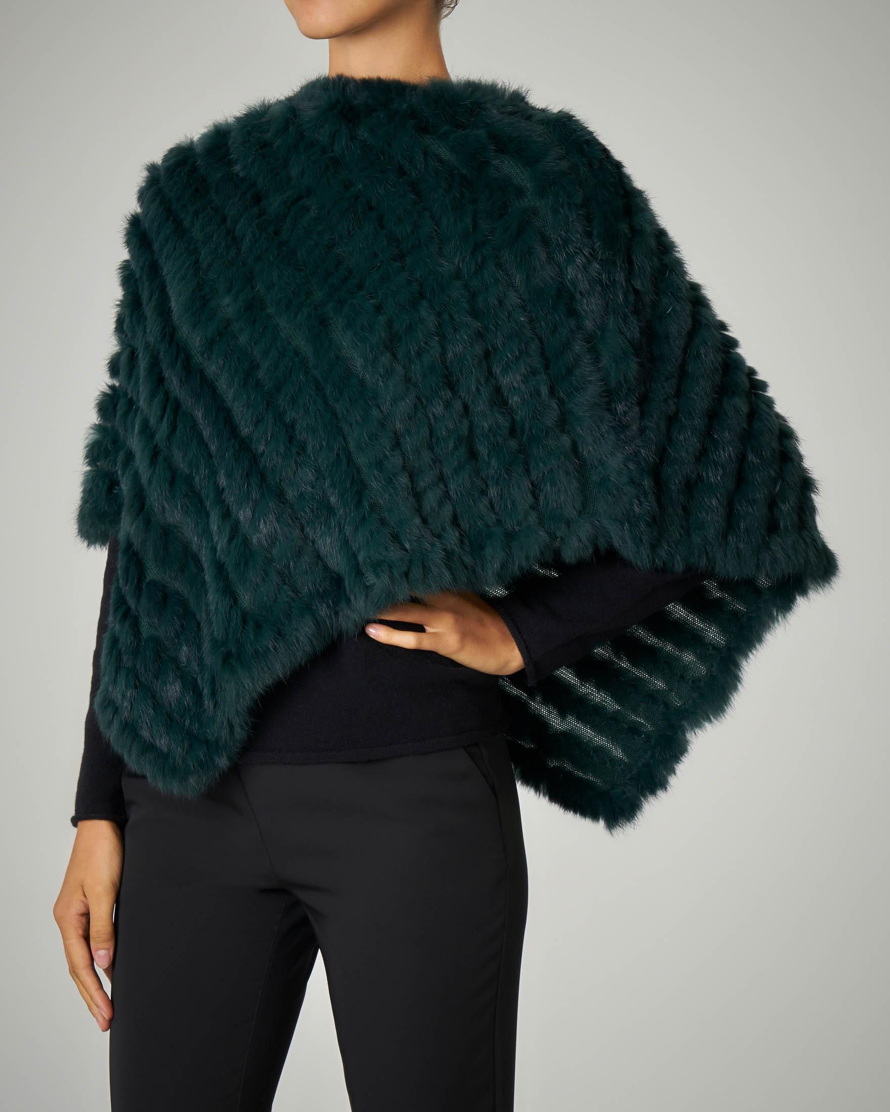 Poncho in pelliccia verde