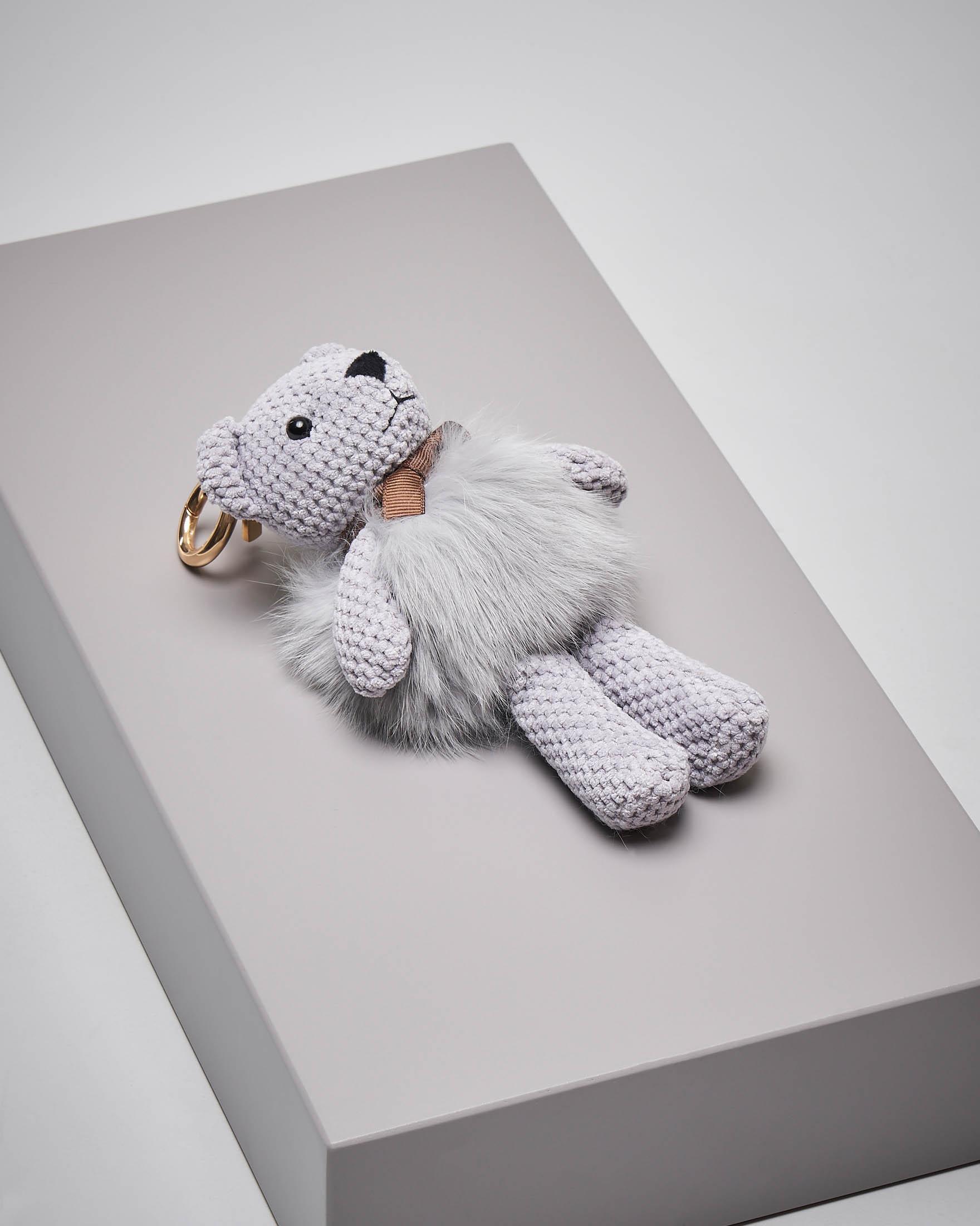 Portachiavi orsetto grigio in pelliccia