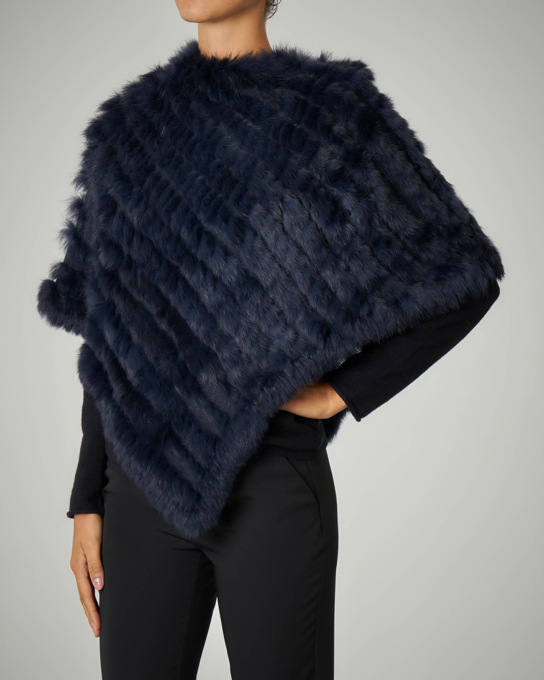 Poncho in pelliccia blu