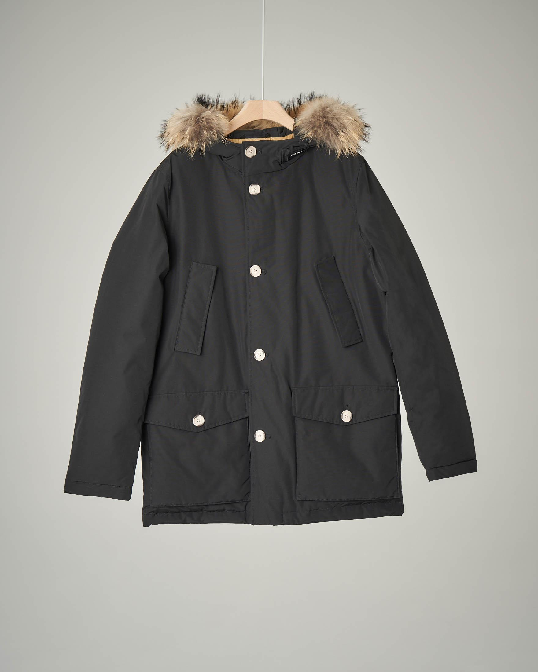 Parka detachable fur nero