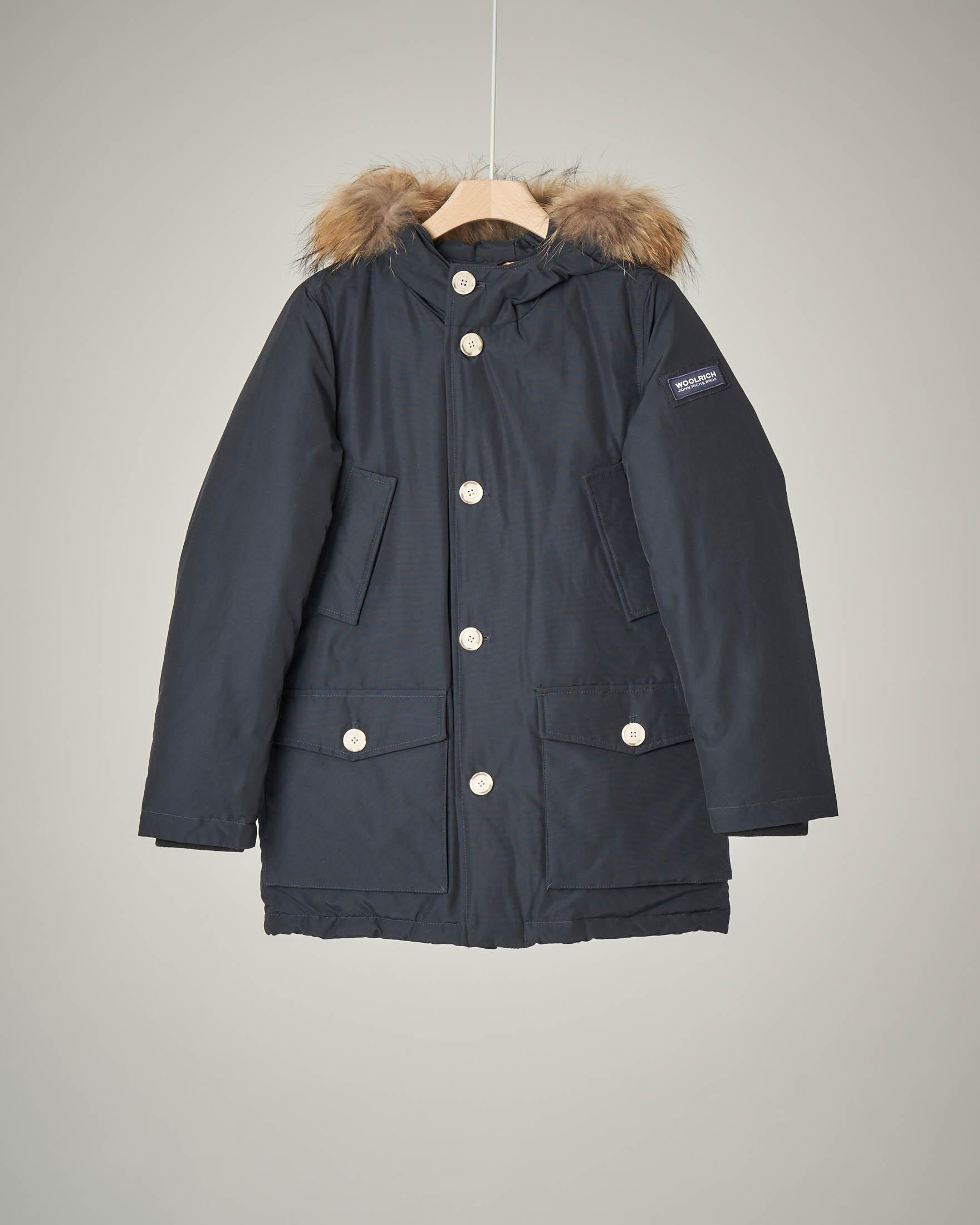 Parka detachable fur blu navy