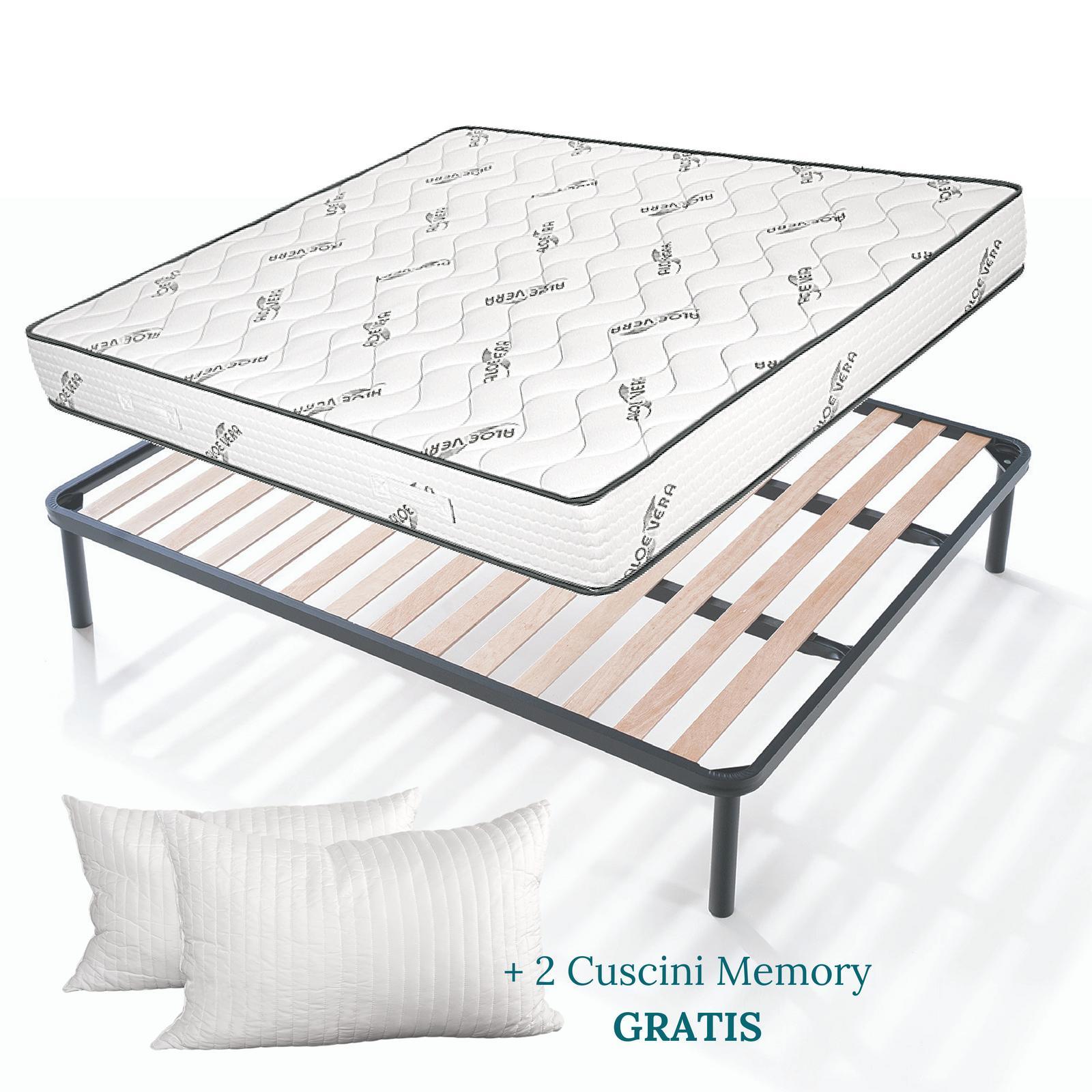 Kit rete e materasso aloe alto 20 cm con cuscini memory foam gratis - Divano letto con materasso alto 20 cm ...