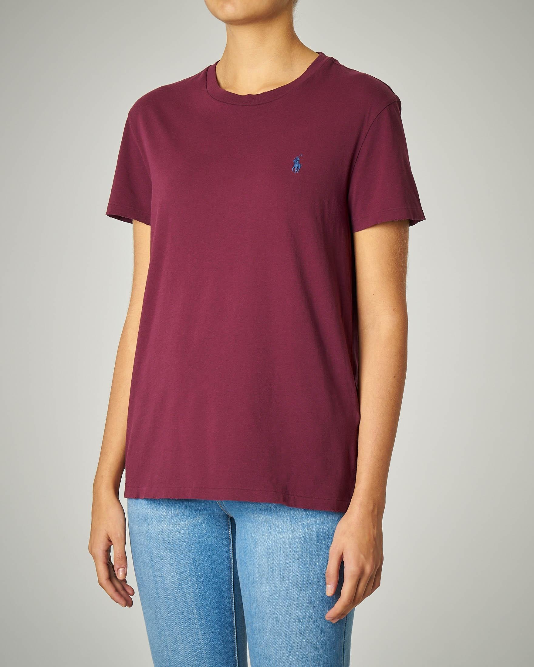 T-shirt girocollo in cotone bordeaux