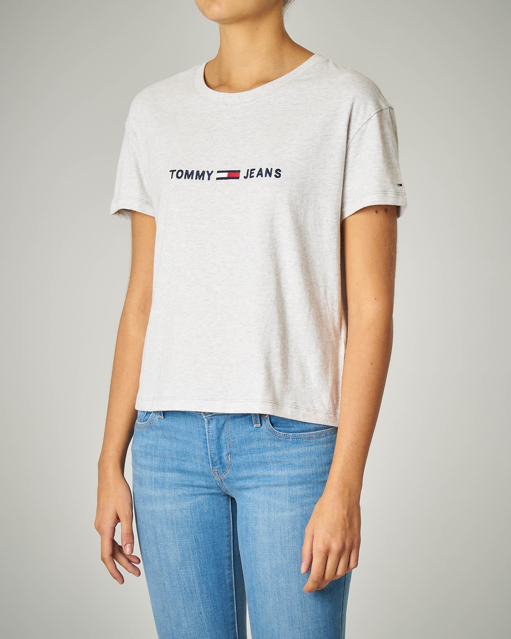 T-shirt girocollo grigia con logo ricamato