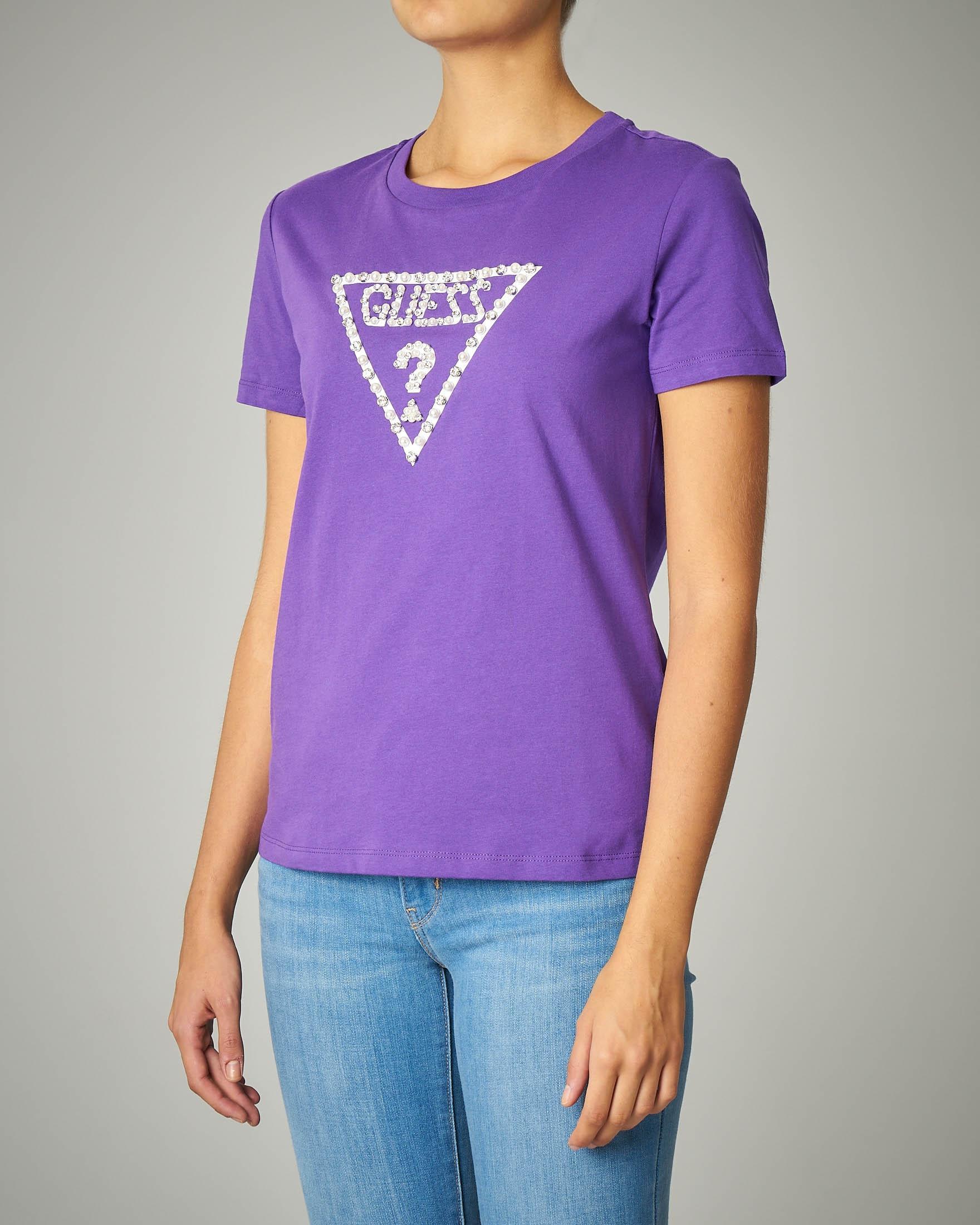 T-shirti viola girocollo con logo ricamato