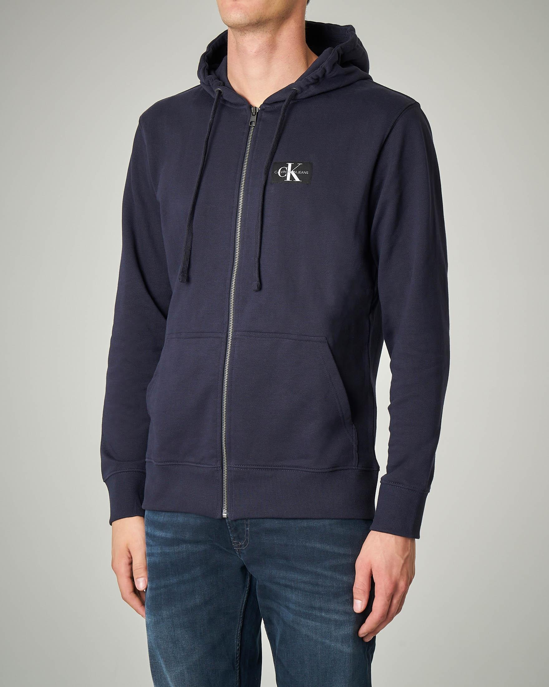 Felpa blu in cotone con cappuccio e zip