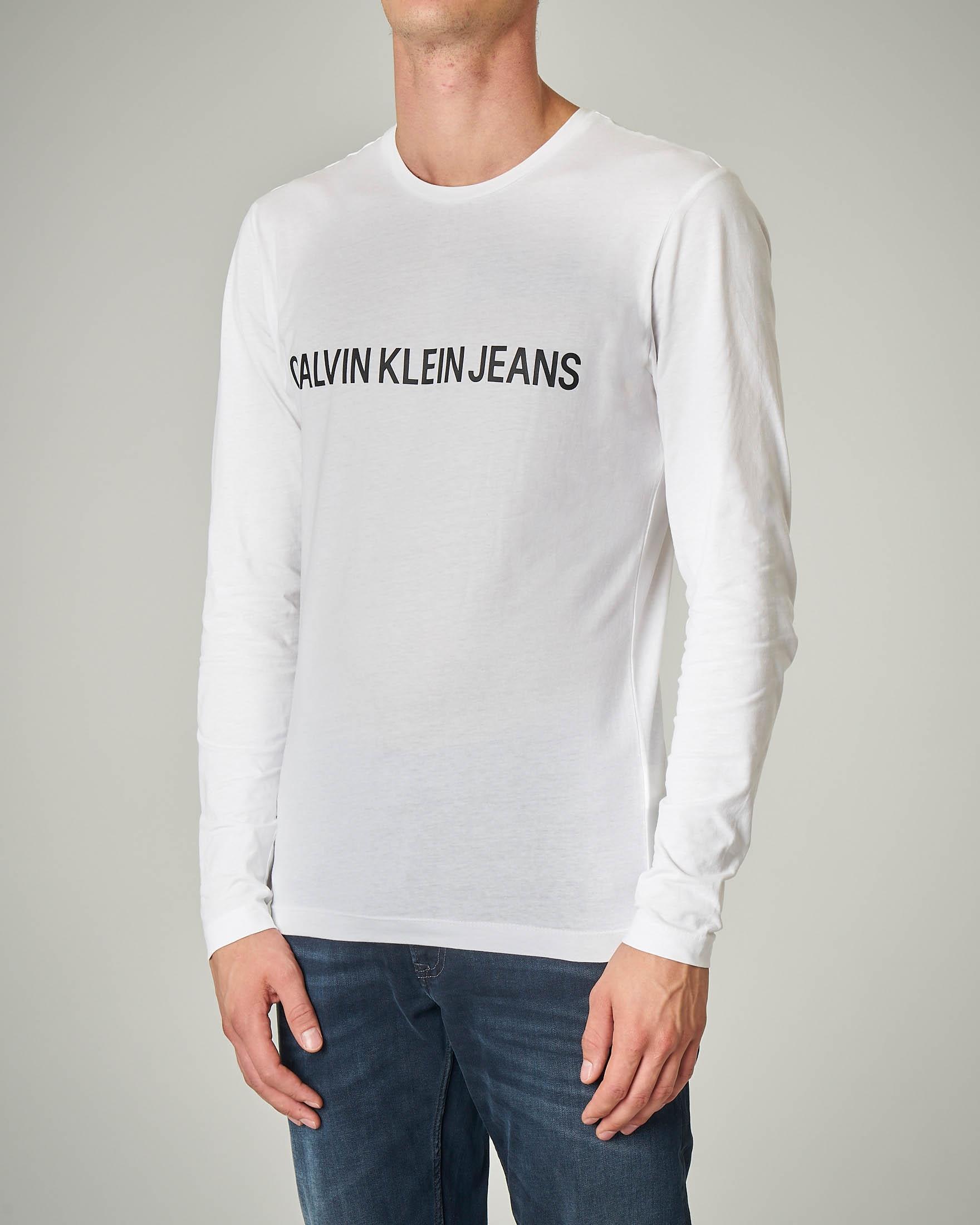 T-shirt bianca a manica lunga in cotone